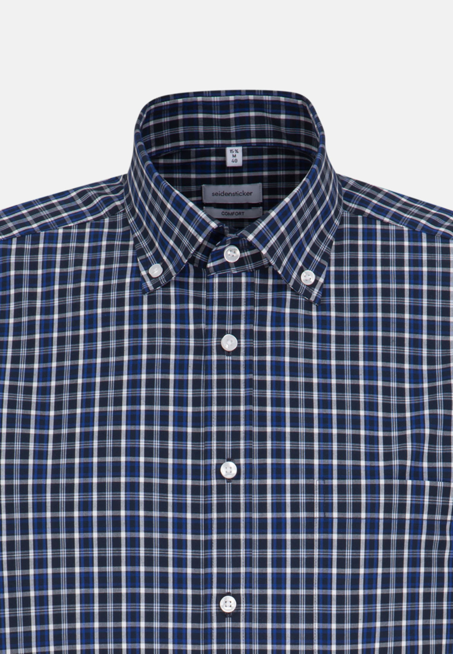 Bügelfreies Popeline Kurzarm Business Hemd in Comfort mit Button-Down-Kragen in Mittelblau |  Seidensticker Onlineshop