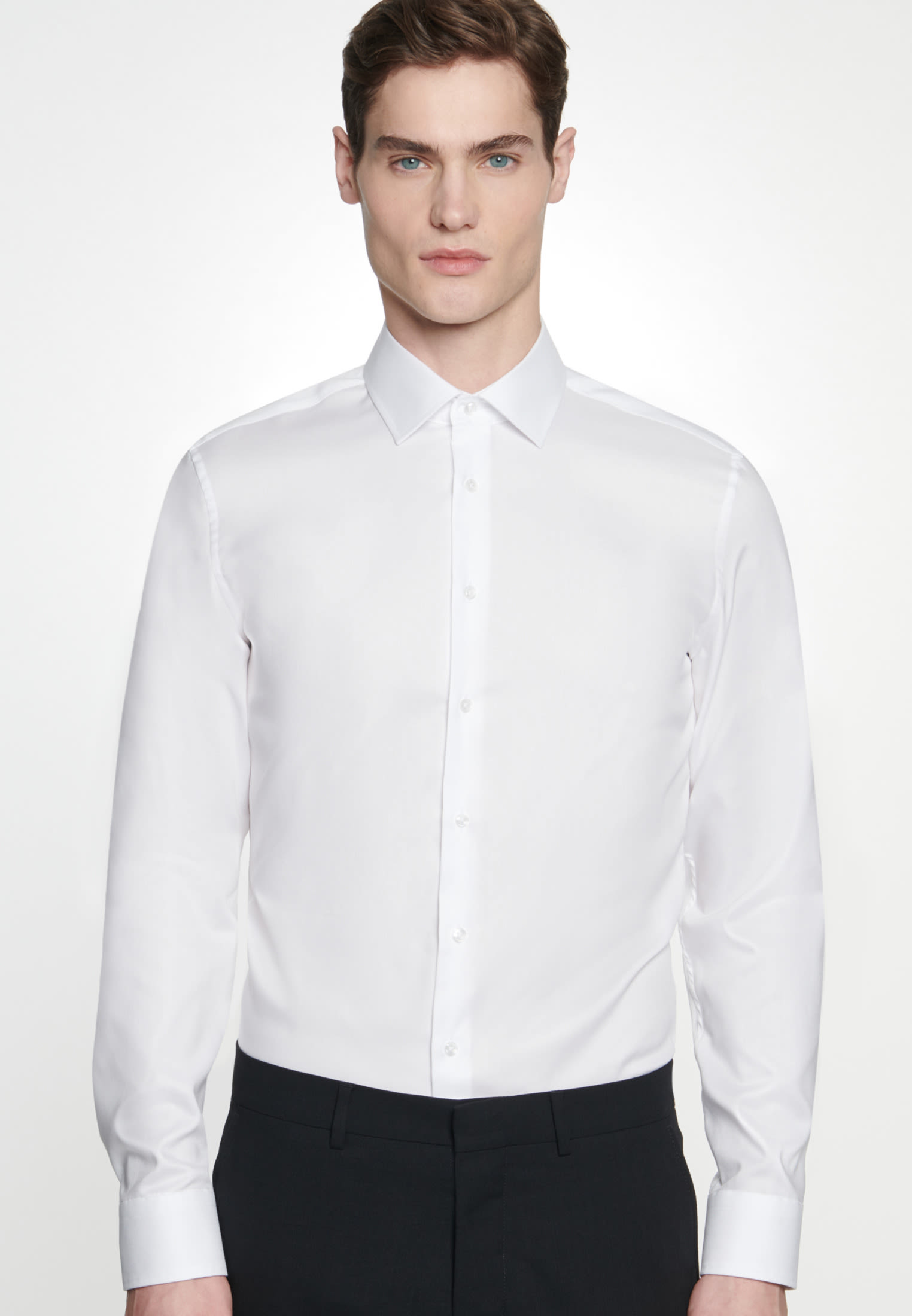 Non-iron Structure Business Shirt in Shaped with Kent-Collar in White |  Seidensticker Onlineshop