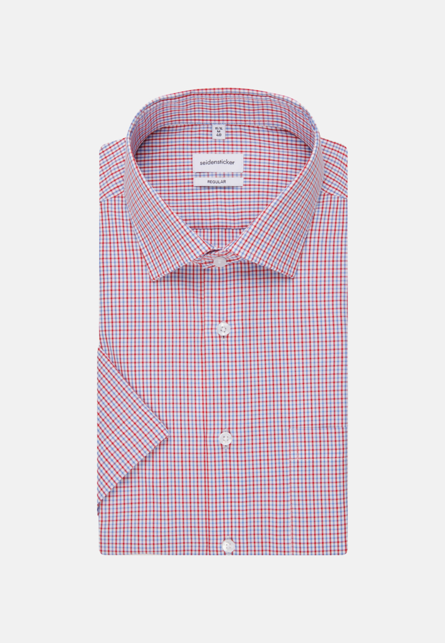 Bügelfreies Popeline Kurzarm Business Hemd in Regular mit Kentkragen in Rot |  Seidensticker Onlineshop