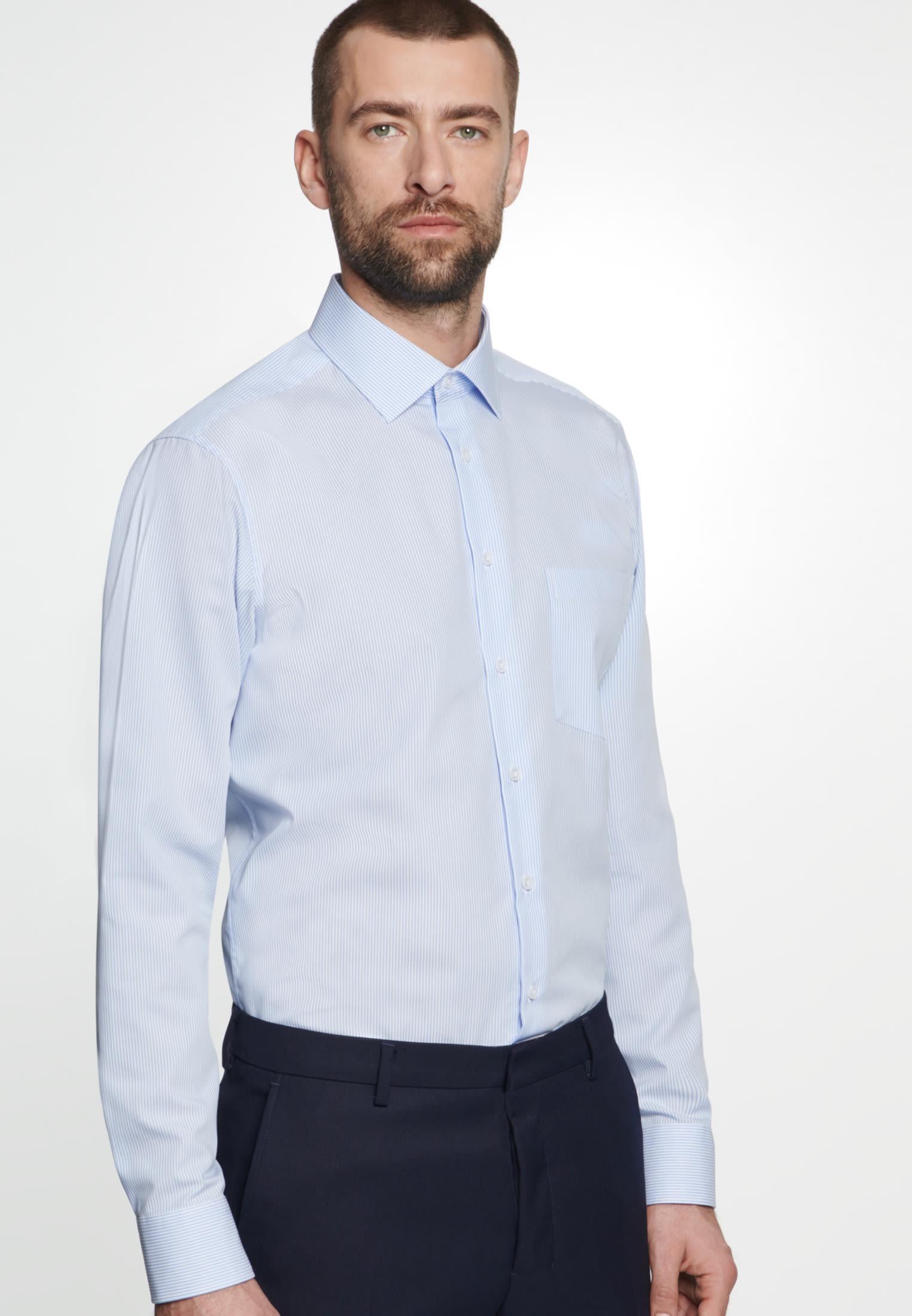 Non-iron Poplin Business Shirt in Regular with Kent-Collar in Light blue    Seidensticker Onlineshop
