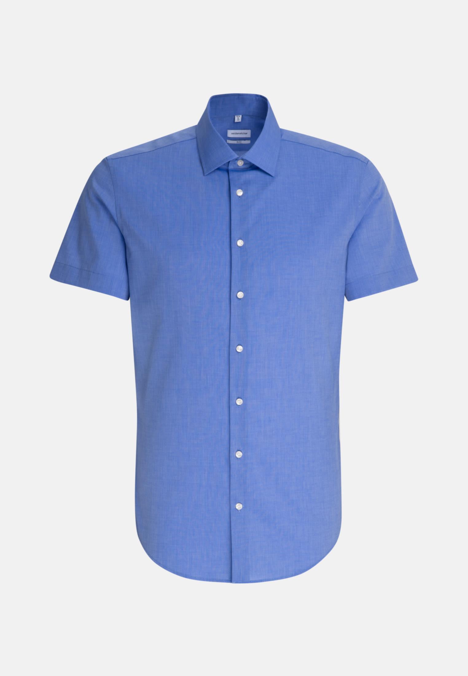 Non-iron Fil a fil Short sleeve Business Shirt in Slim with Kent-Collar in Medium blue |  Seidensticker Onlineshop