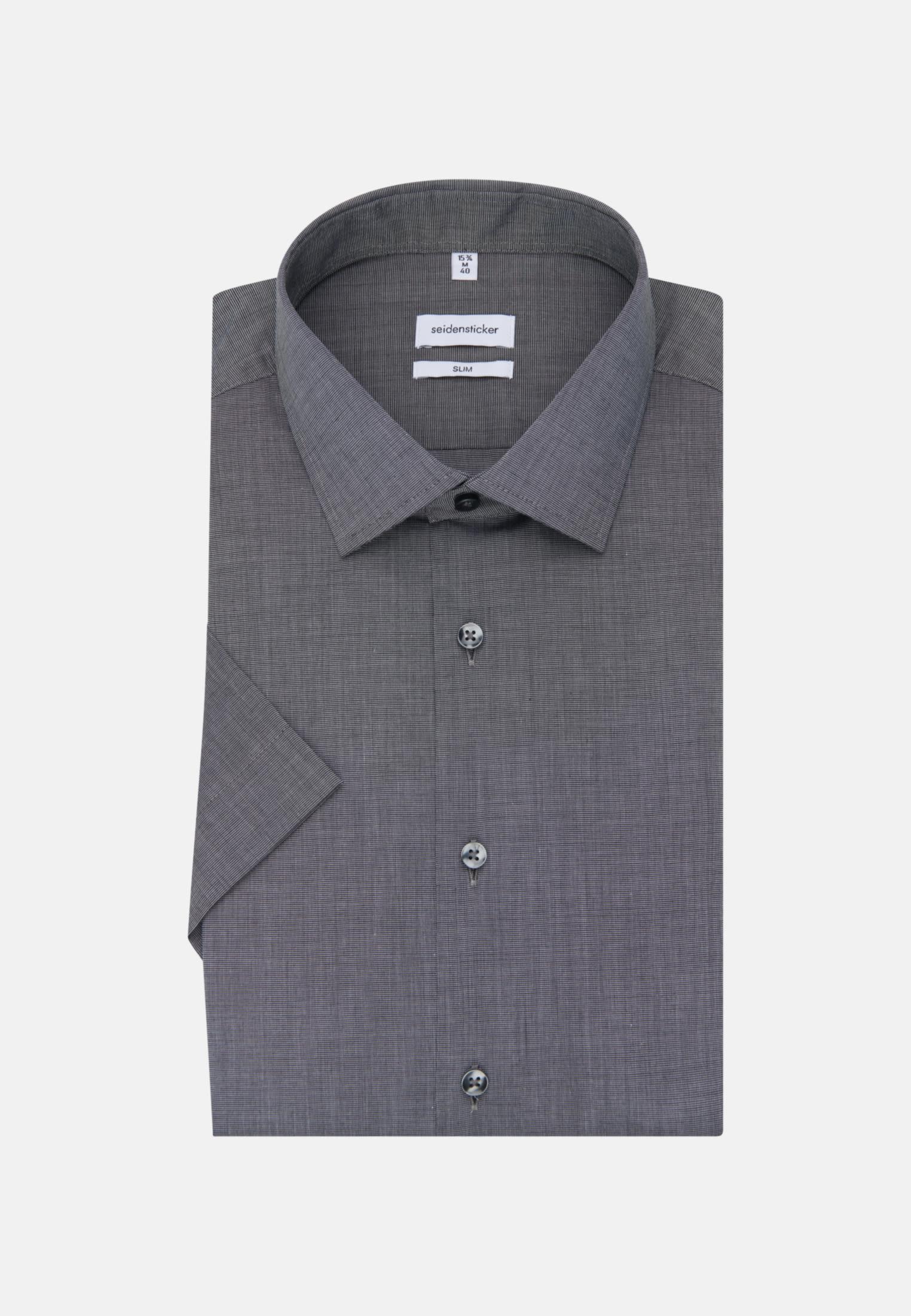 Bügelfreies Fil a fil Kurzarm Business Hemd in Slim mit Kentkragen in Grau |  Seidensticker Onlineshop