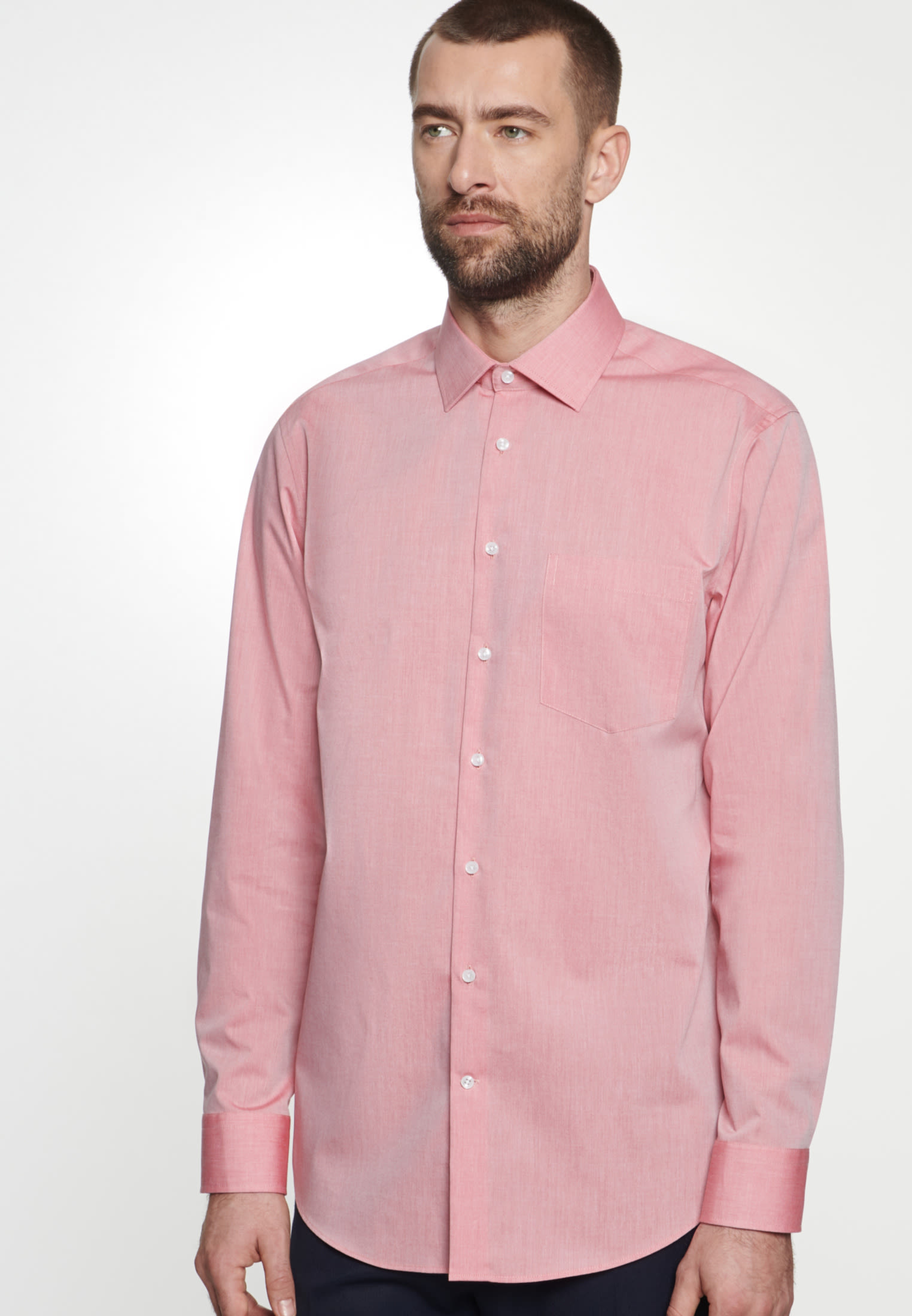 Non-iron Chambray Business Shirt in Comfort with Kent-Collar in Red |  Seidensticker Onlineshop