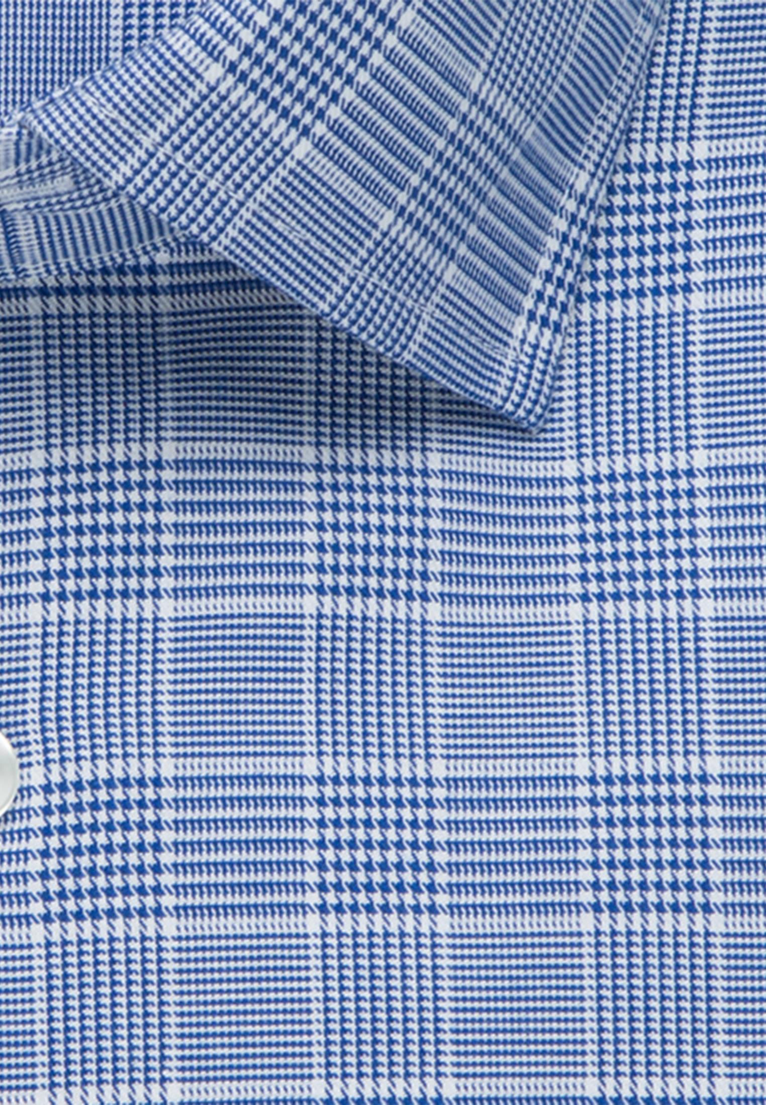 Bügelleichtes Glencheck Business Hemd in Slim mit Kentkragen in Mittelblau |  Seidensticker Onlineshop