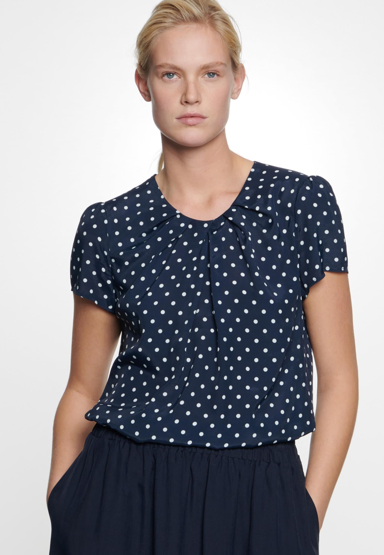Kurzarm Voile Shirtbluse aus 100% Viskose in Dunkelblau    Seidensticker Onlineshop