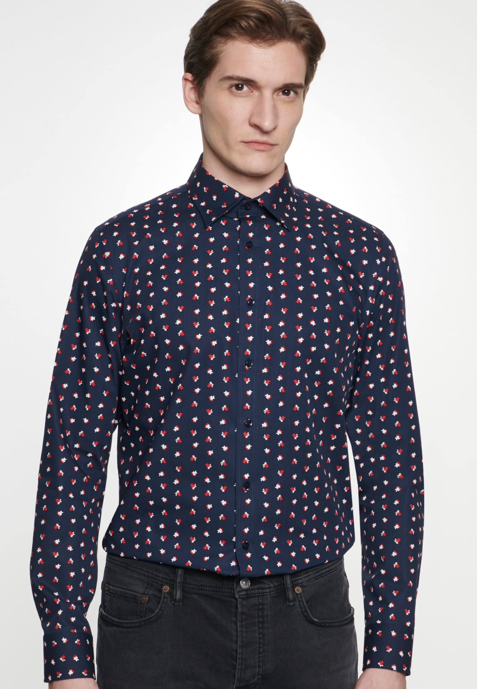 Bügelleichtes Popeline Business Hemd in Slim mit Covered-Button-Down-Kragen in Dunkelblau |  Seidensticker Onlineshop