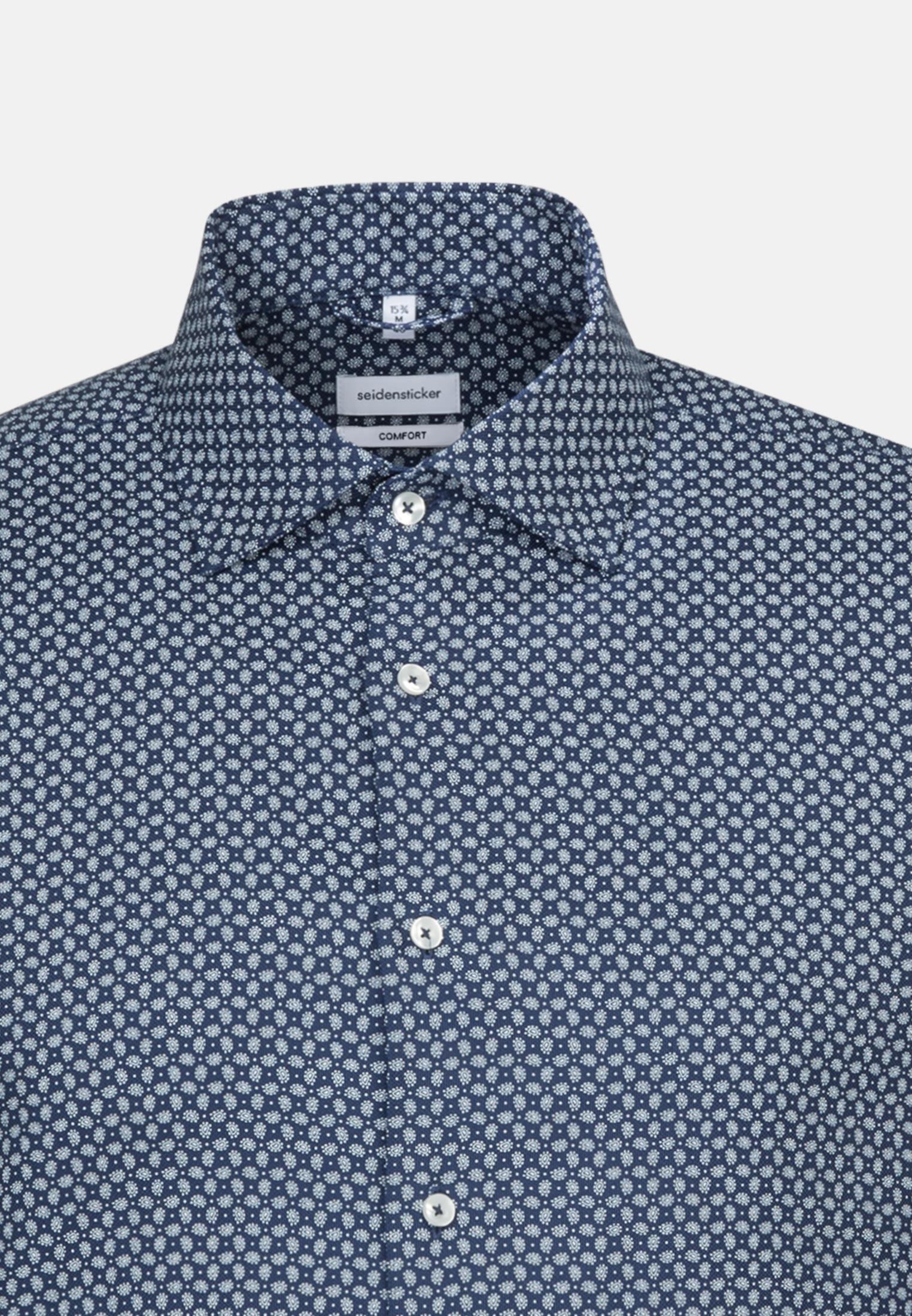 Bügelleichtes Struktur Business Hemd in Comfort mit Kentkragen in Mittelblau |  Seidensticker Onlineshop