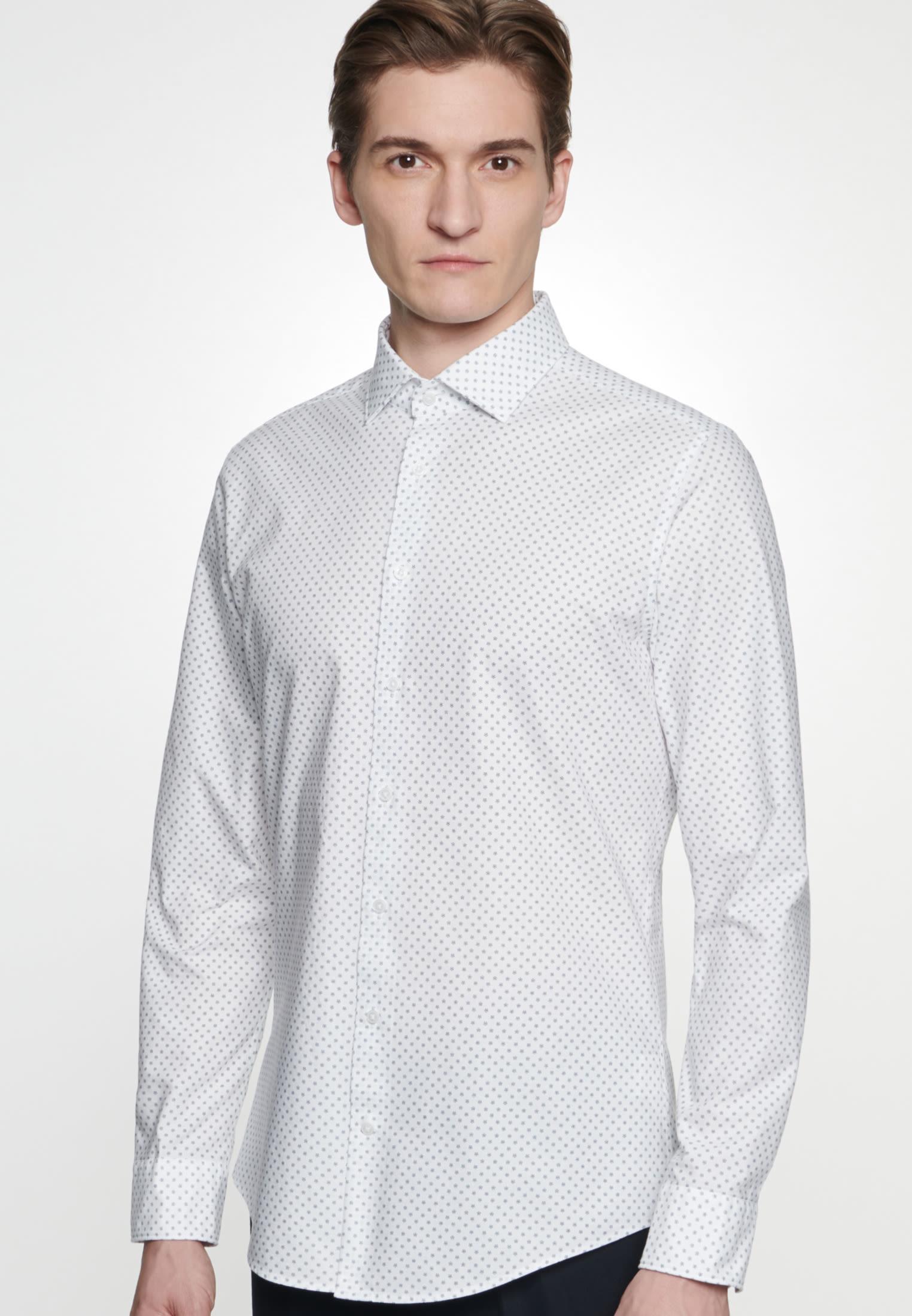 Bügelleichtes Oxford Business Hemd in Shaped mit Kentkragen in Weiß    Seidensticker Onlineshop