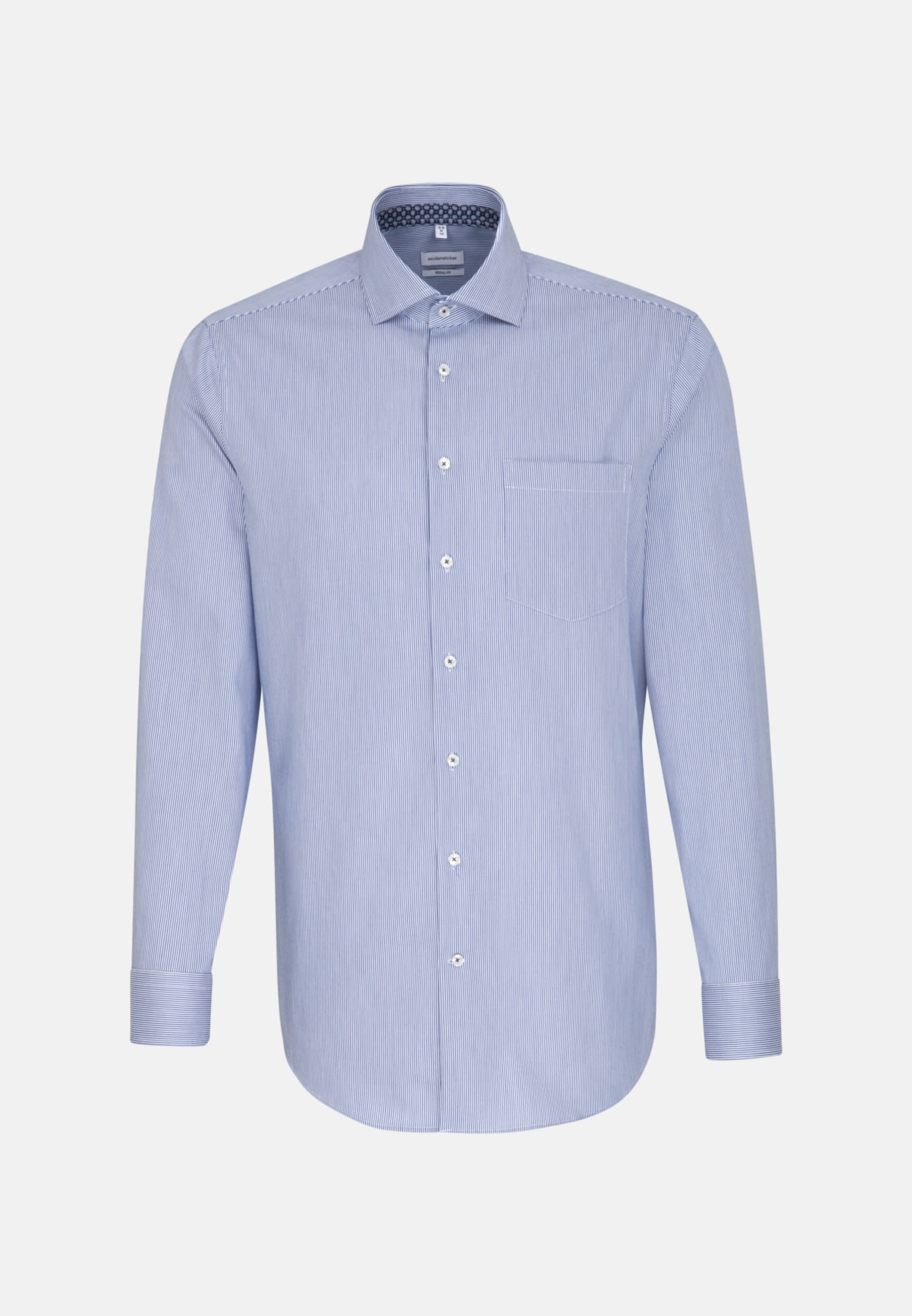 Easy-iron Twill Business Shirt in Regular with Kent-Collar and extra long sleeve in Medium blue |  Seidensticker Onlineshop