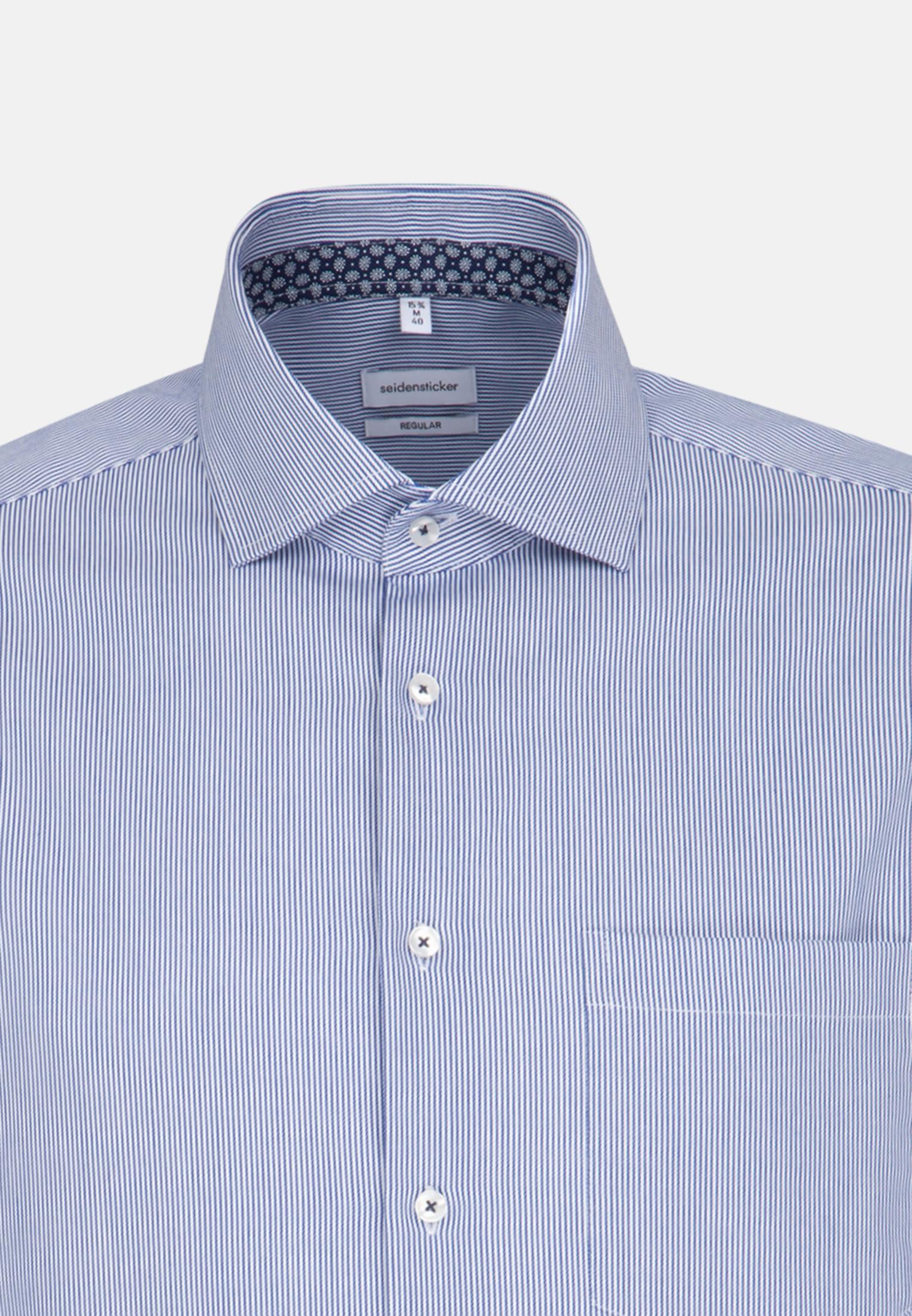 Bügelleichtes Twill Business Hemd in Regular mit Kentkragen und extra langem Arm in Mittelblau |  Seidensticker Onlineshop