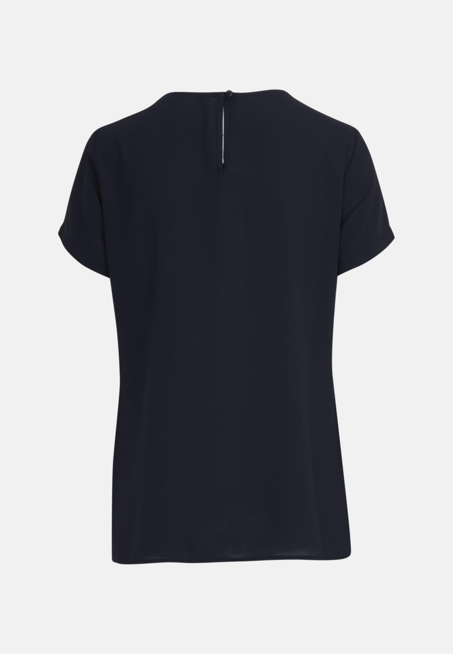Kurzarm Krepp Shirtbluse aus 100% Polyester in Dunkelblau |  Seidensticker Onlineshop