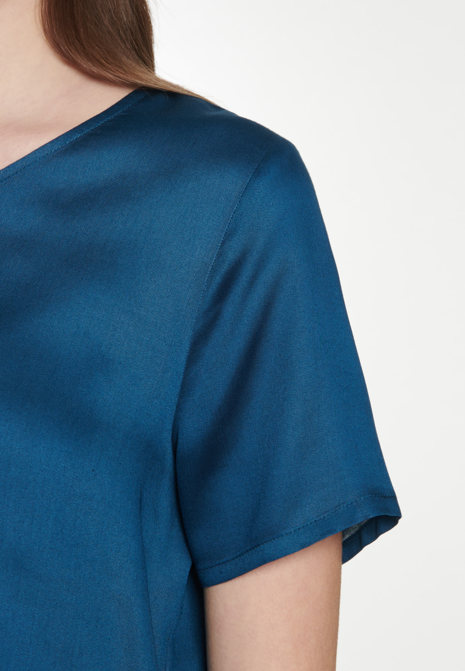 Short sleeve Satin Shirt Blouse made of 100% Viscose in Turquoise |  Seidensticker Onlineshop
