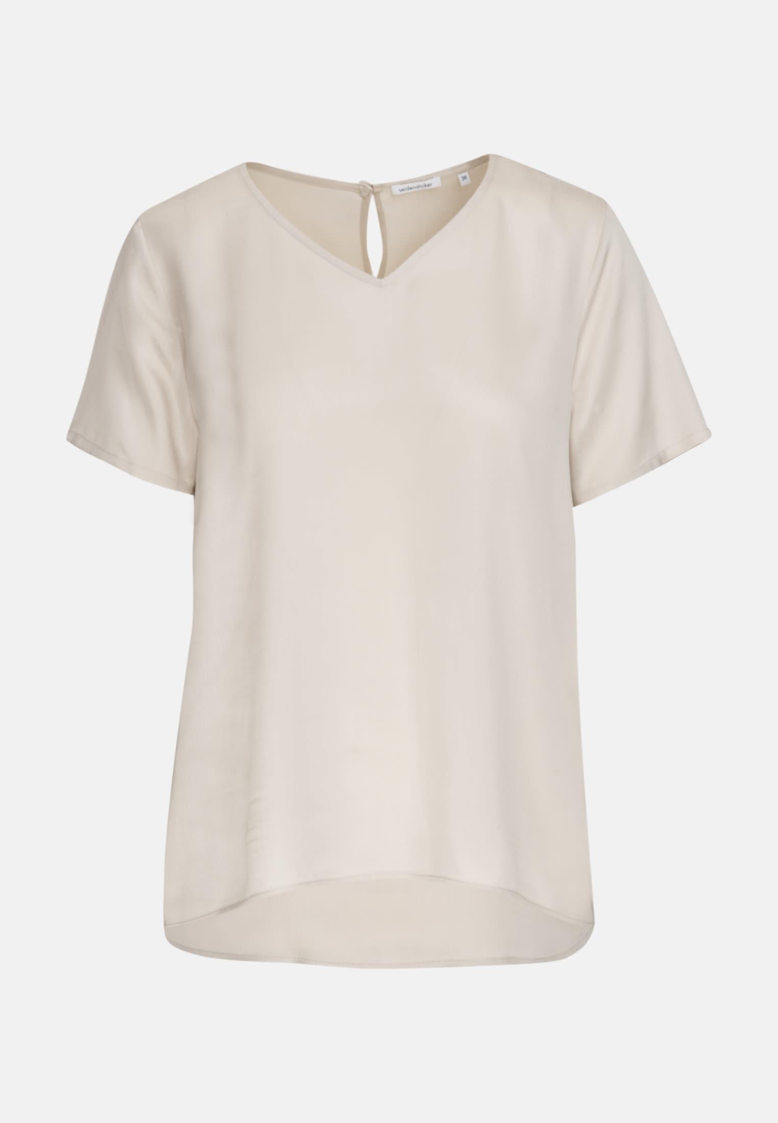Kurzarm Popeline Shirtbluse aus 100% Viskose in Beige |  Seidensticker Onlineshop