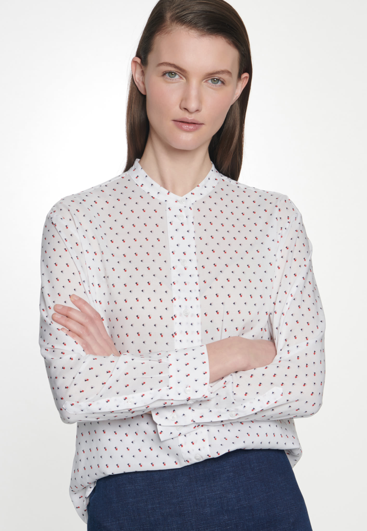 Poplin Stand-Up Blouse made of 100% Viscose in Ecru |  Seidensticker Onlineshop
