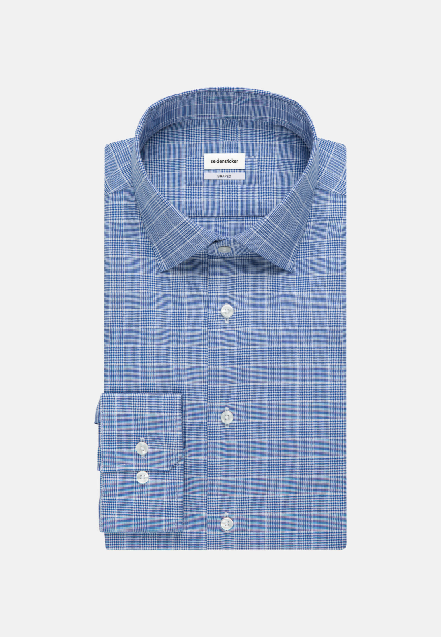 Easy-iron Glencheck Business Shirt in Shaped with Kent-Collar in Medium blue |  Seidensticker Onlineshop