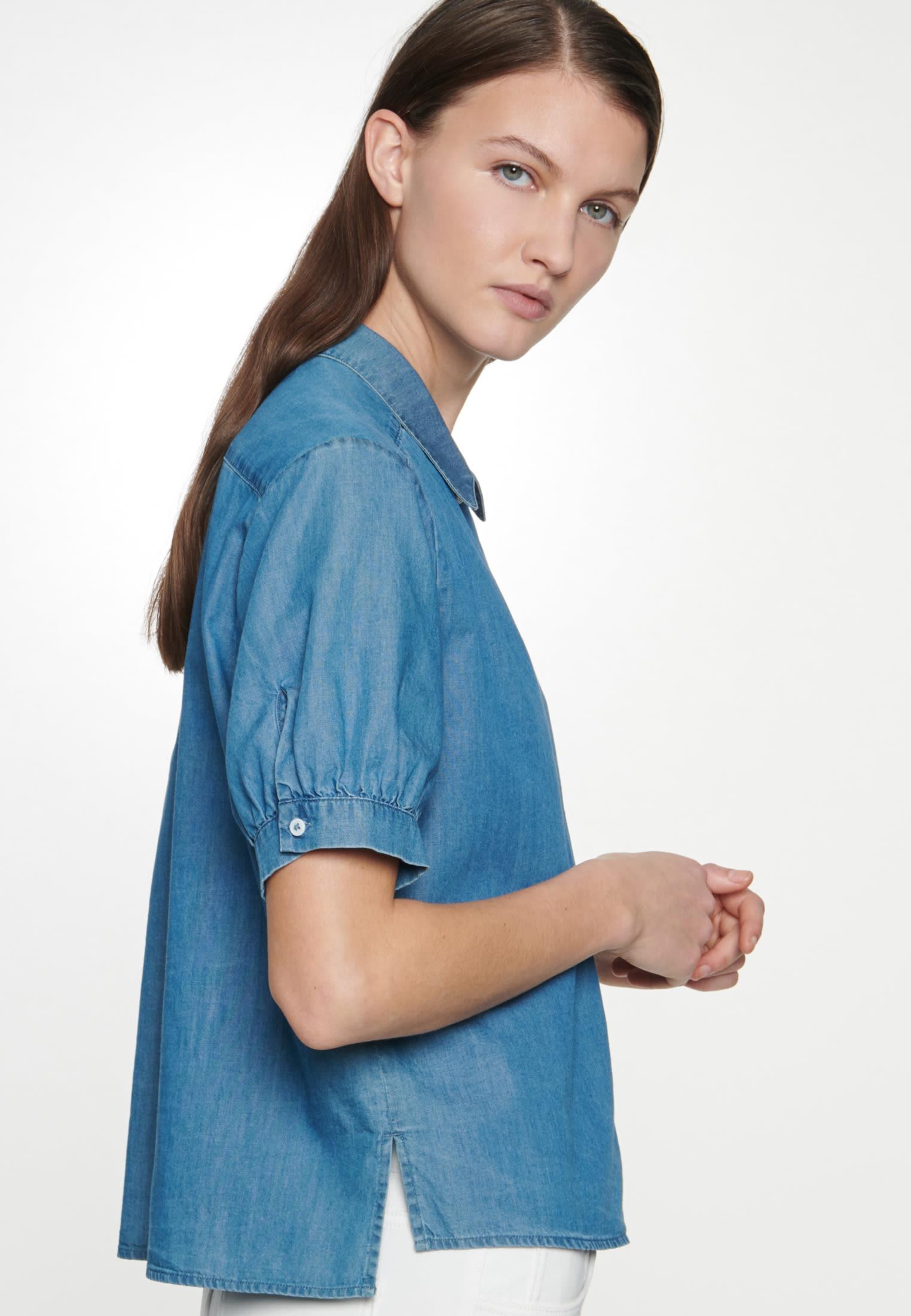 Kurzarm Denim Hemdbluse aus 100% Baumwolle in Dunkelblau |  Seidensticker Onlineshop