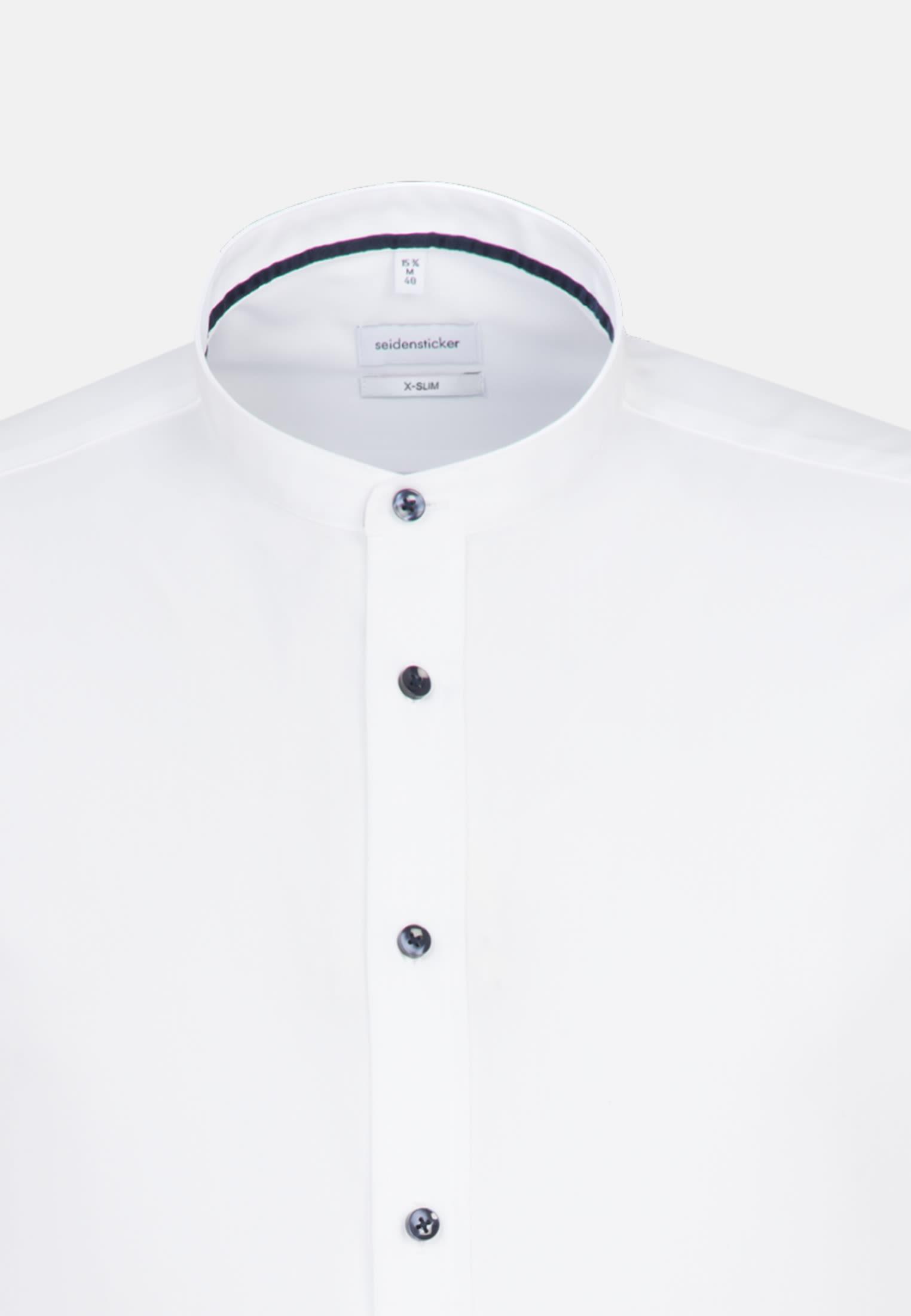 Bügelfreies Popeline Business Hemd in X-Slim mit Stehkragen in Weiß    Seidensticker Onlineshop