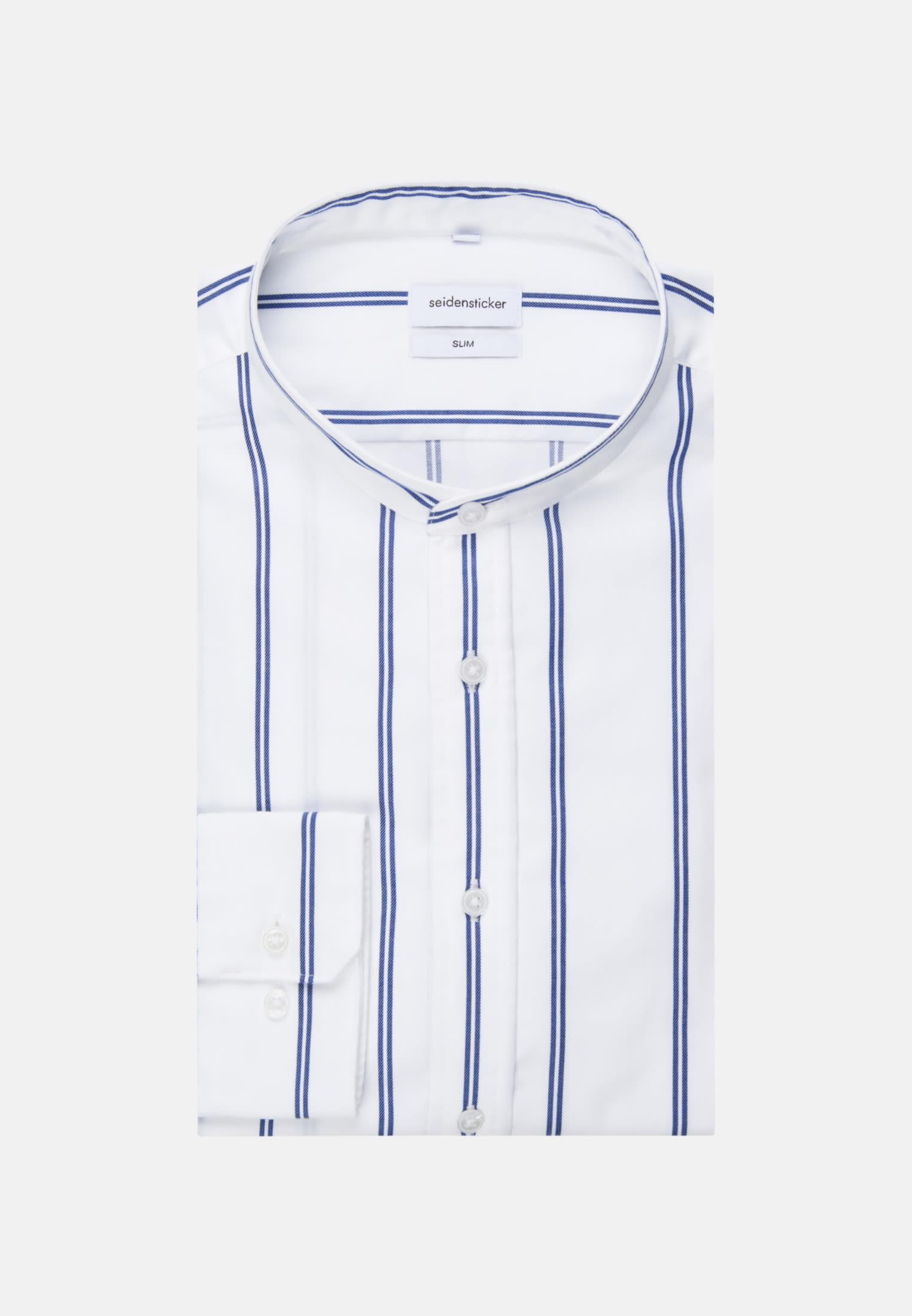 Bügelleichtes Twill Business Hemd in Slim mit Stehkragen in Weiß |  Seidensticker Onlineshop
