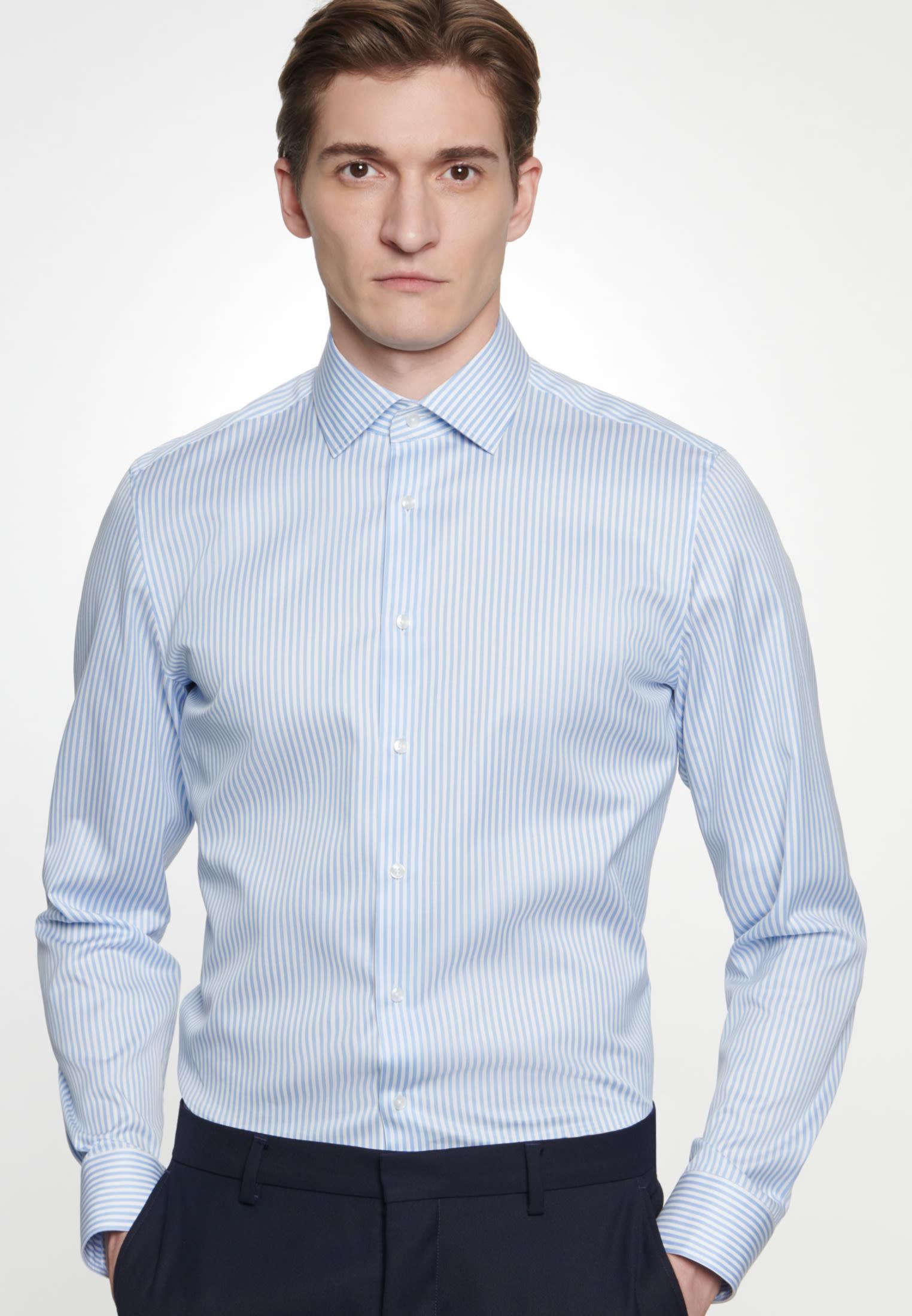 Bügelleichtes Piqué Business Hemd in Slim mit Kentkragen in Hellblau |  Seidensticker Onlineshop