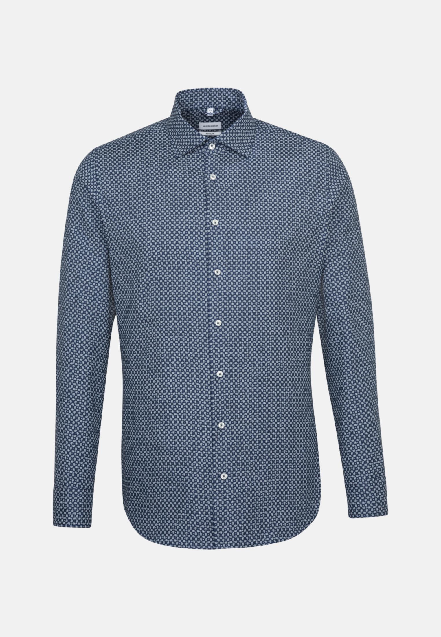 Bügelleichtes Struktur Business Hemd in Regular mit Kentkragen und extra langem Arm in Mittelblau |  Seidensticker Onlineshop