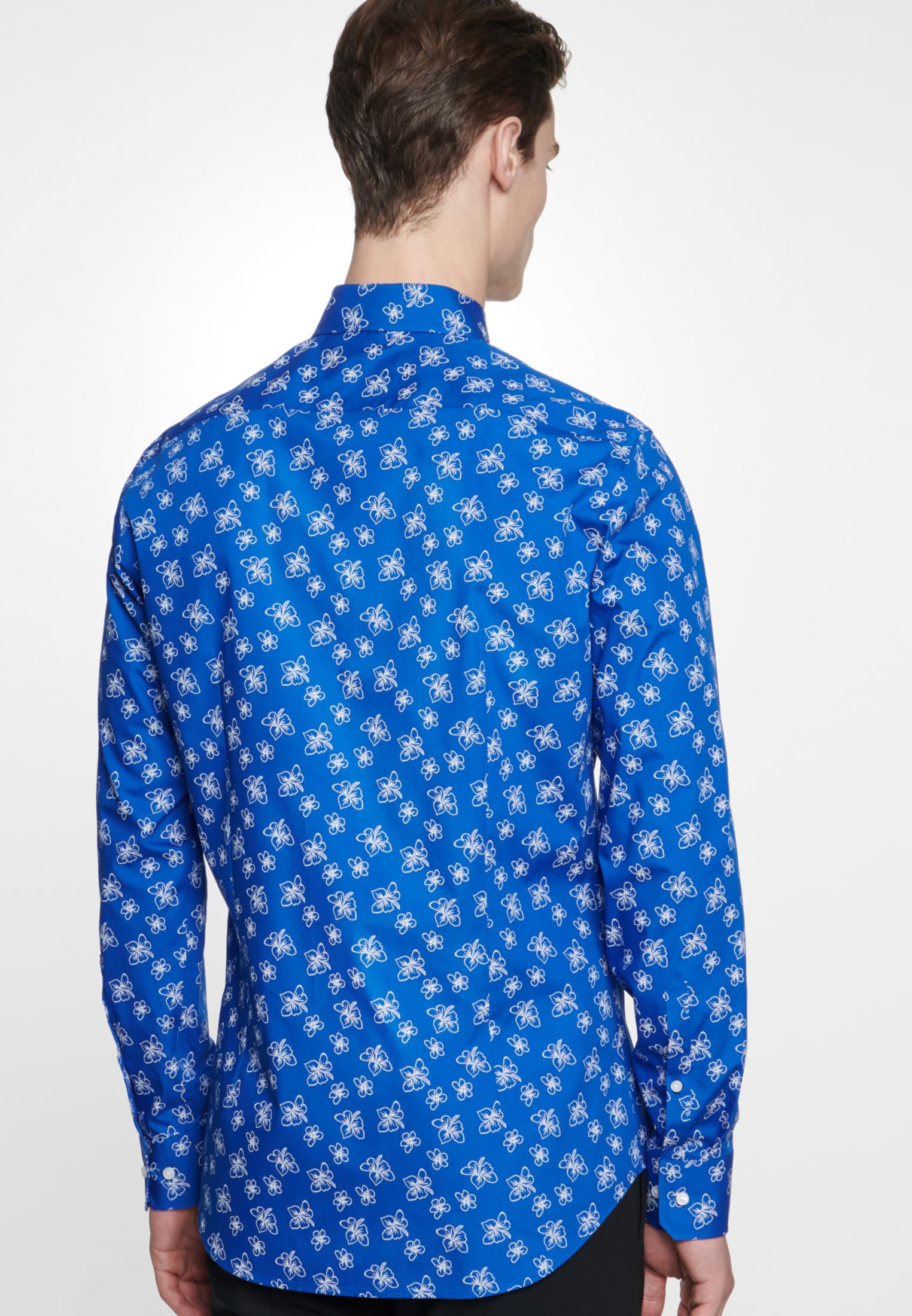 Bügelleichtes Popeline Business Hemd in Slim mit Covered-Button-Down-Kragen in Mittelblau |  Seidensticker Onlineshop