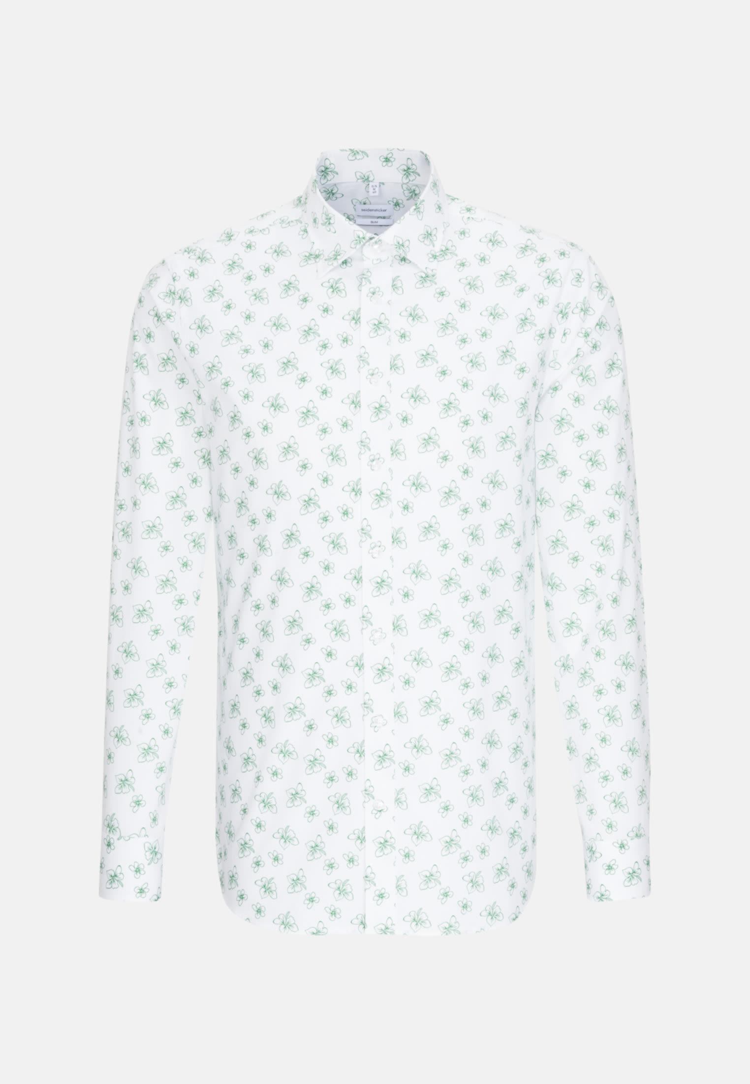 Easy-iron Poplin Business Shirt in Slim with Covered-Button-Down-Collar in White |  Seidensticker Onlineshop