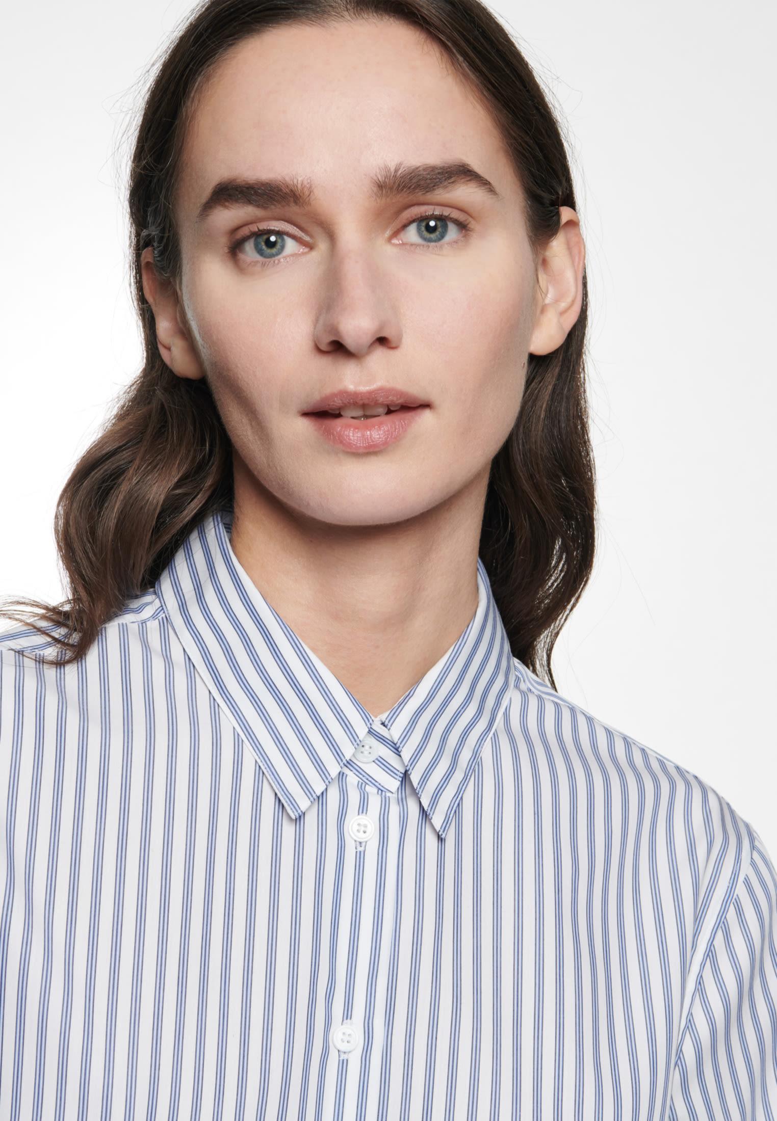 Kurzarm Popeline Hemdbluse aus 100% Baumwolle in Hellblau |  Seidensticker Onlineshop
