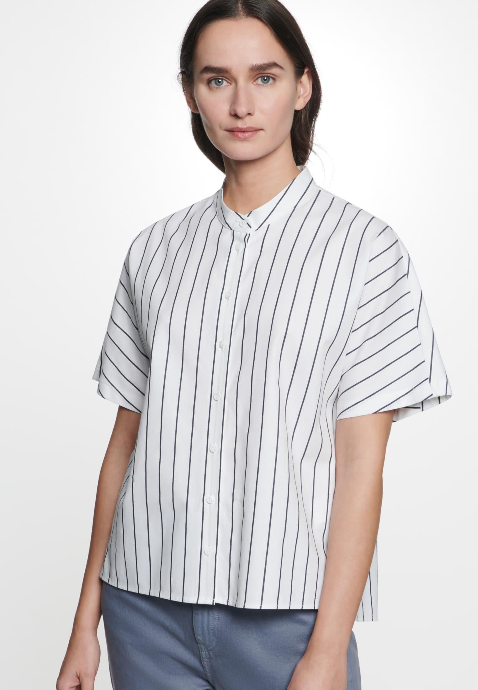 Kurzarm Popeline Hemdbluse aus Leinenmischung in Weiß |  Seidensticker Onlineshop