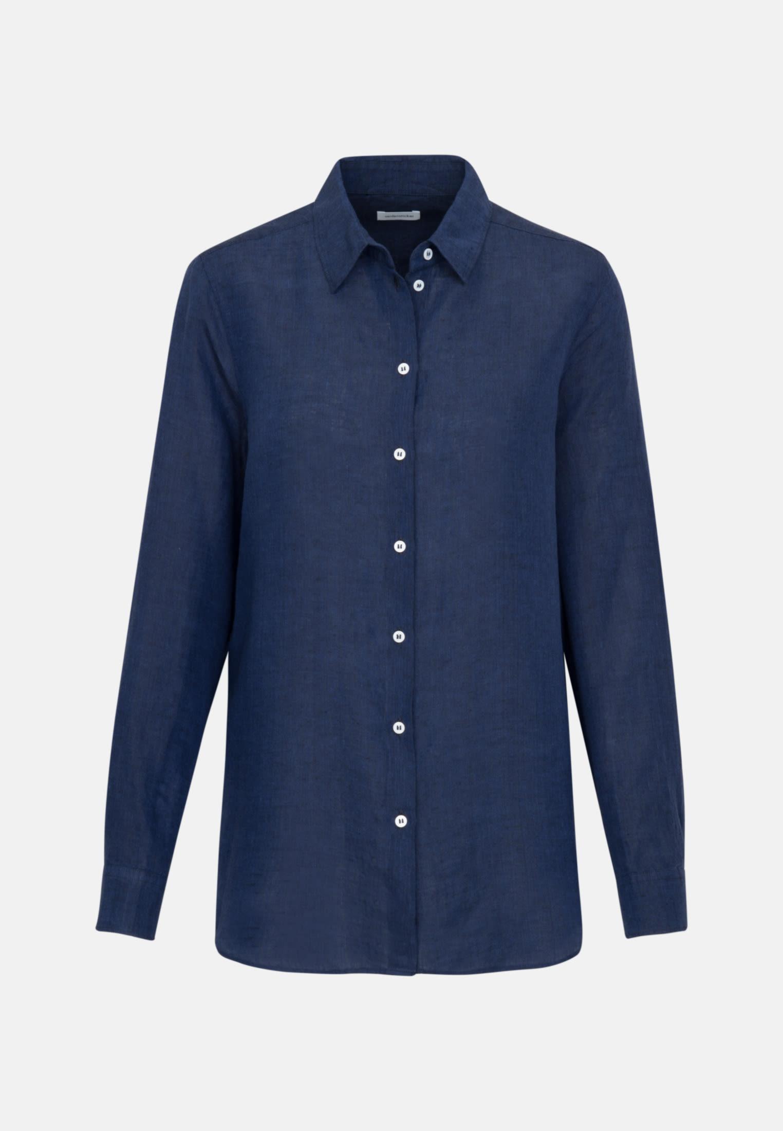 Linen Shirt Blouse made of 100% Linen in Dark blue |  Seidensticker Onlineshop