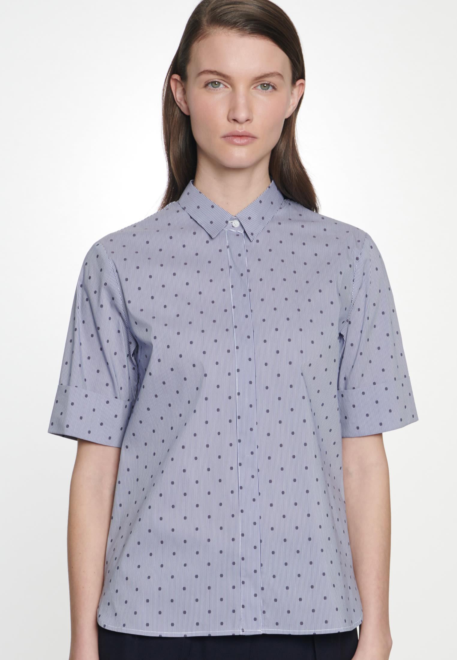 Short sleeve Satin Shirt Blouse made of cotton blend in Dark blue |  Seidensticker Onlineshop