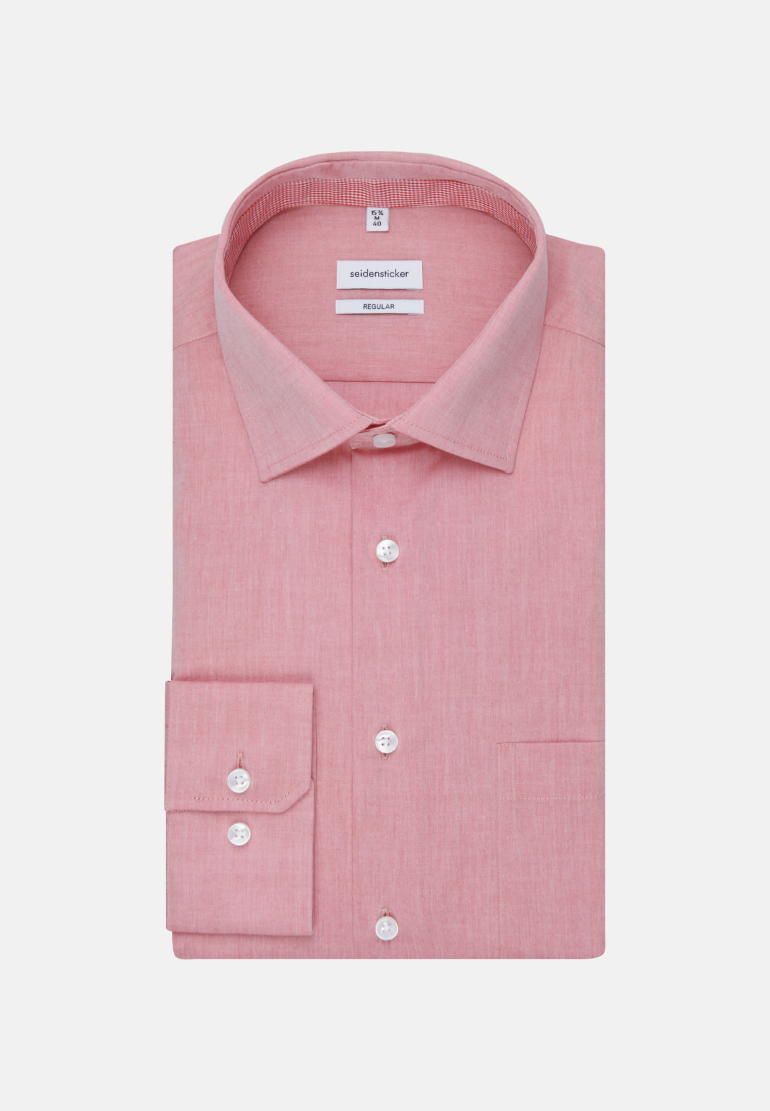 Non-iron Chambray Business Shirt in Regular with Kent-Collar and extra long sleeve in Red |  Seidensticker Onlineshop