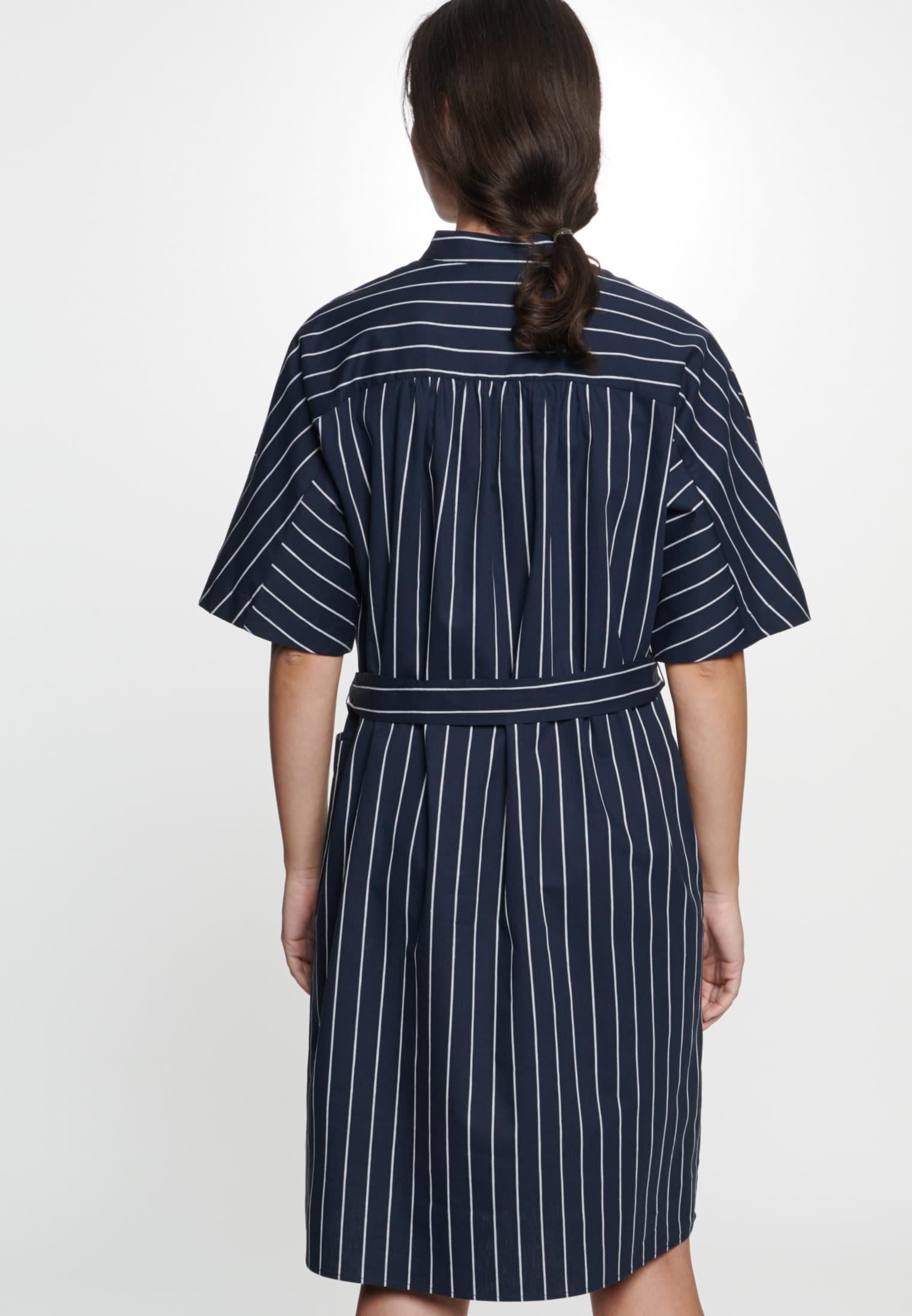Popeline Midi Kleid aus Leinenmischung in Dunkelblau |  Seidensticker Onlineshop