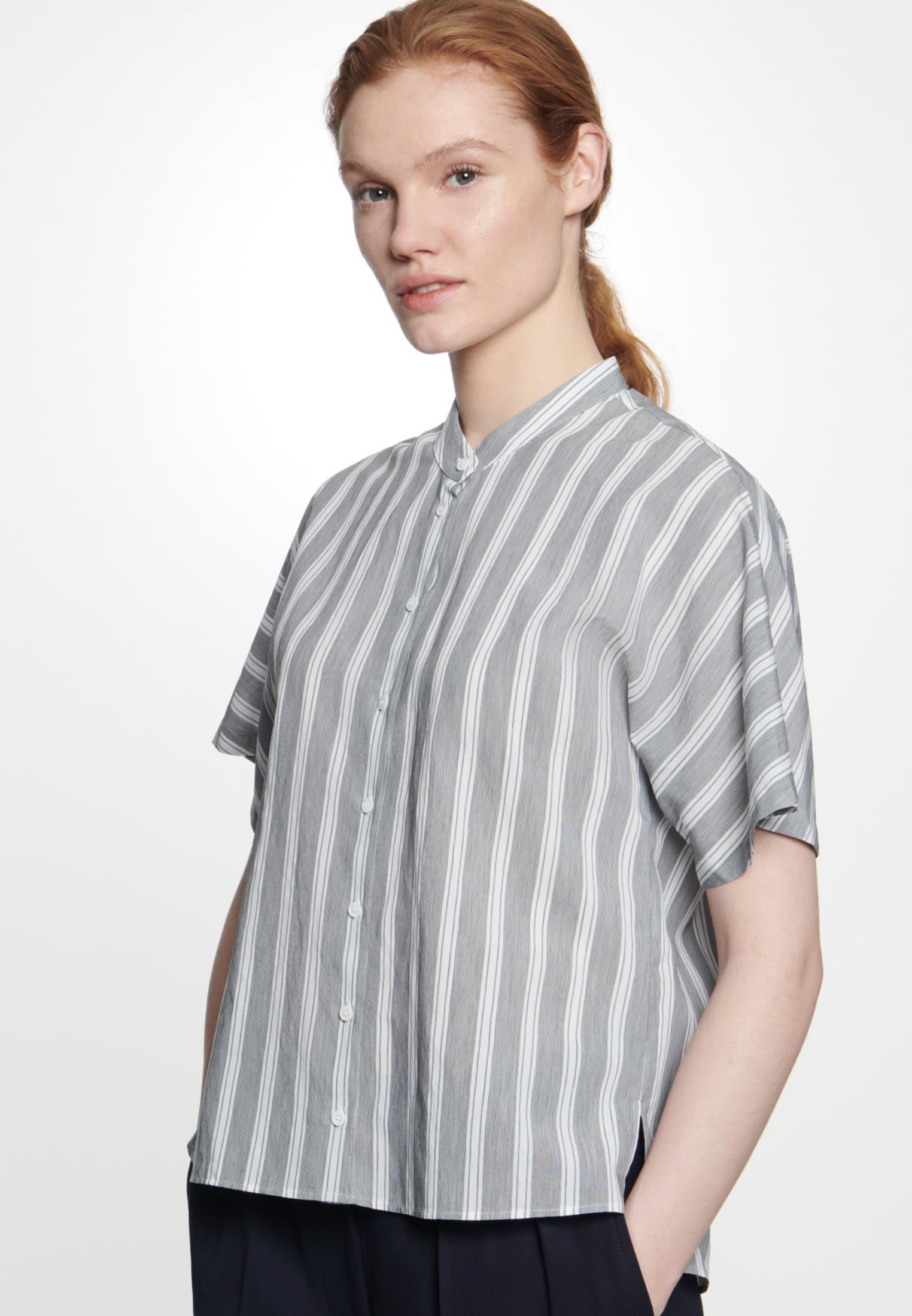 Short sleeve Poplin Dress made of viscose blend in Grey |  Seidensticker Onlineshop