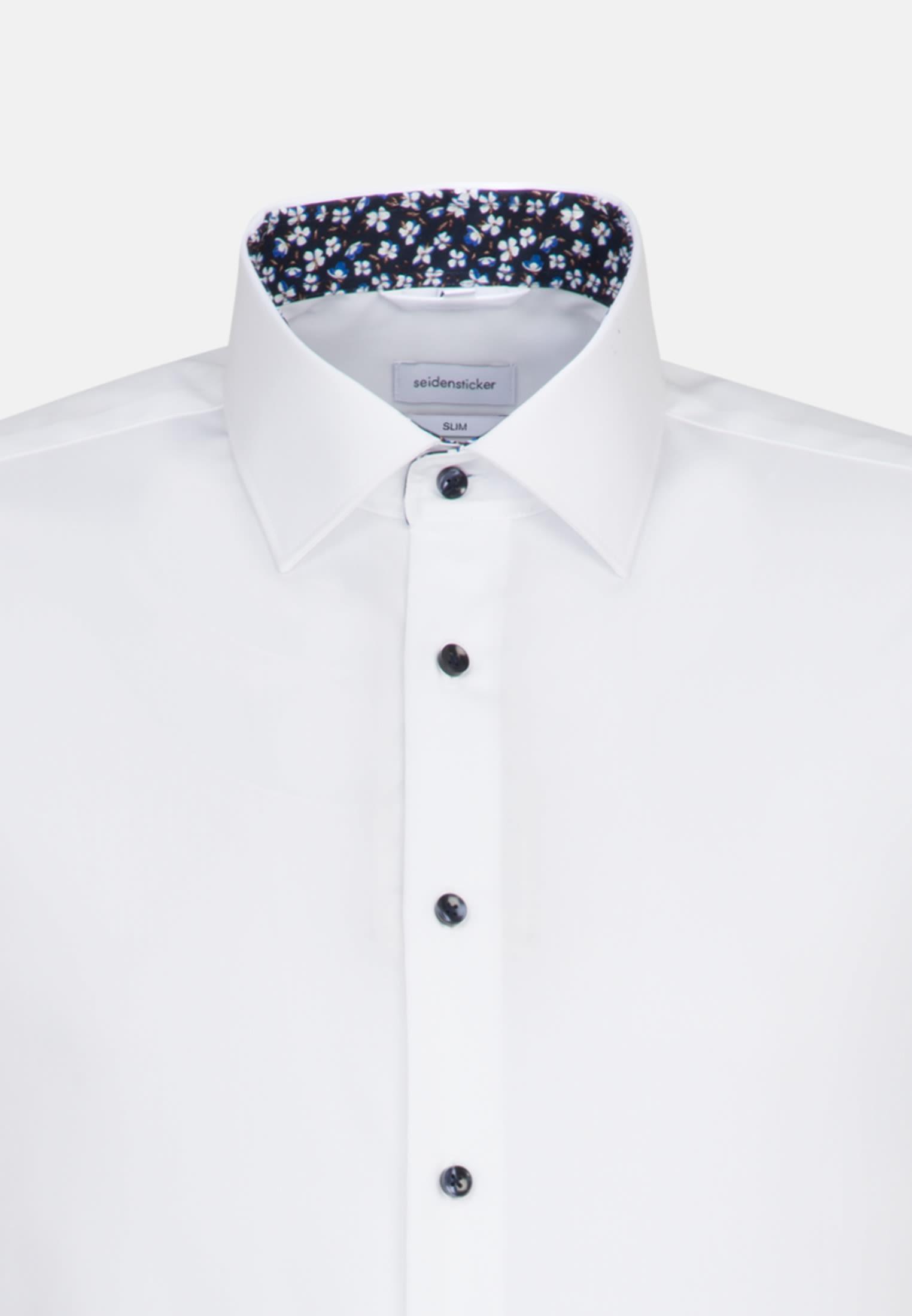 Non-iron Poplin Short sleeve Business Shirt in Slim with Kent-Collar in White |  Seidensticker Onlineshop