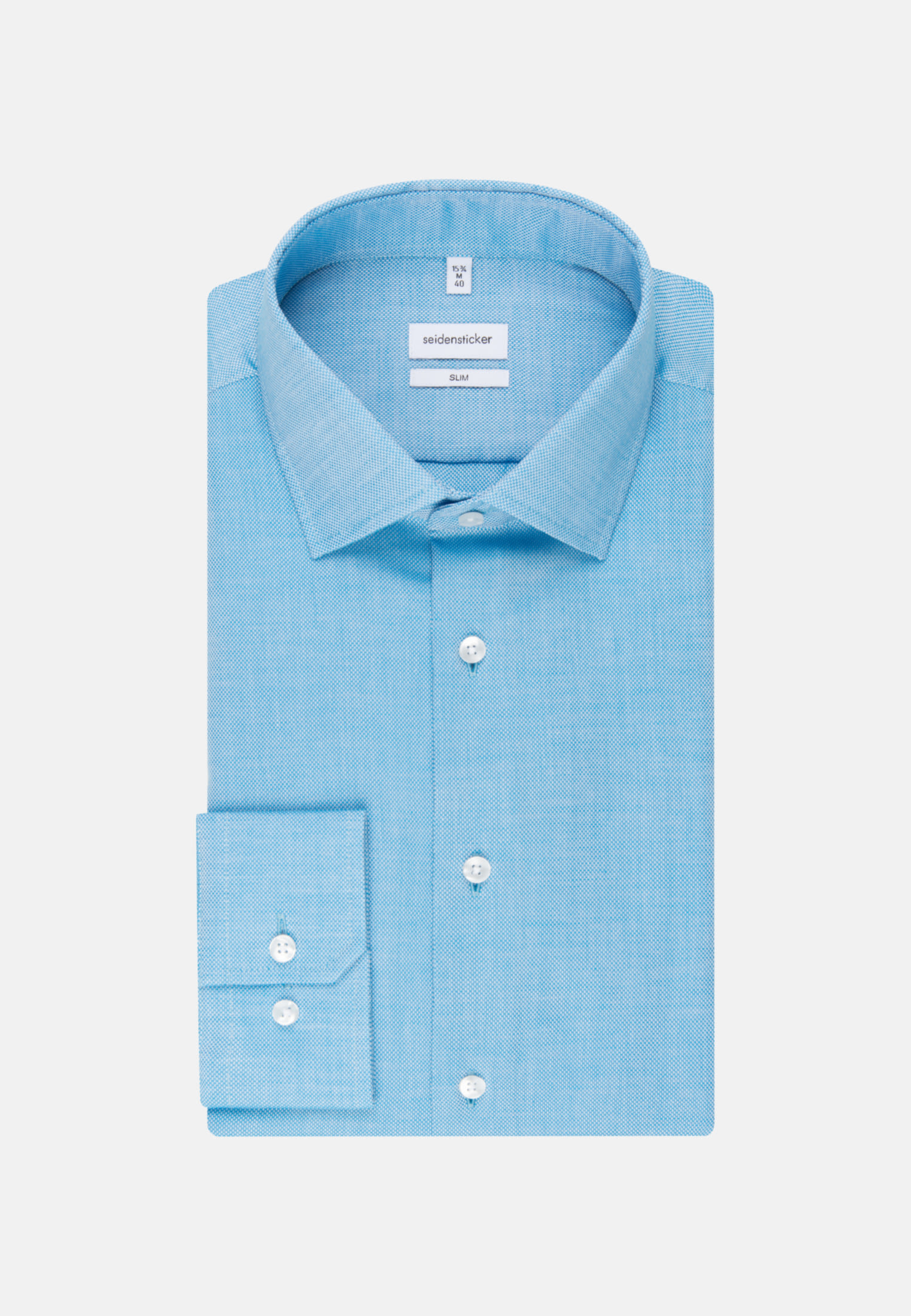 Easy-iron Structure Business Shirt in Slim with Kent-Collar in Turquoise |  Seidensticker Onlineshop