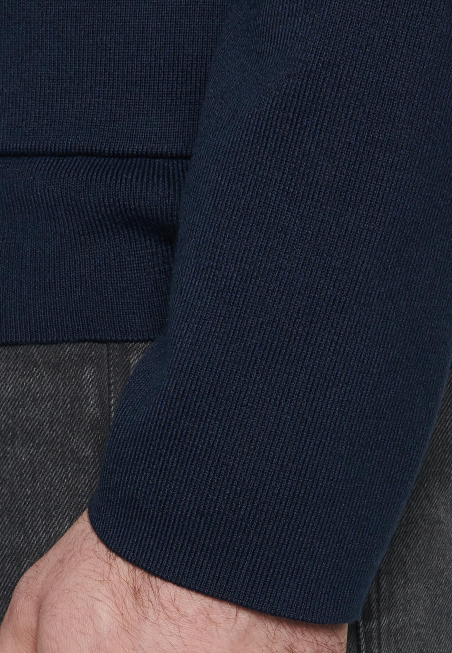 Kragen Cardigan aus 100% Baumwolle in Dunkelblau |  Seidensticker Onlineshop