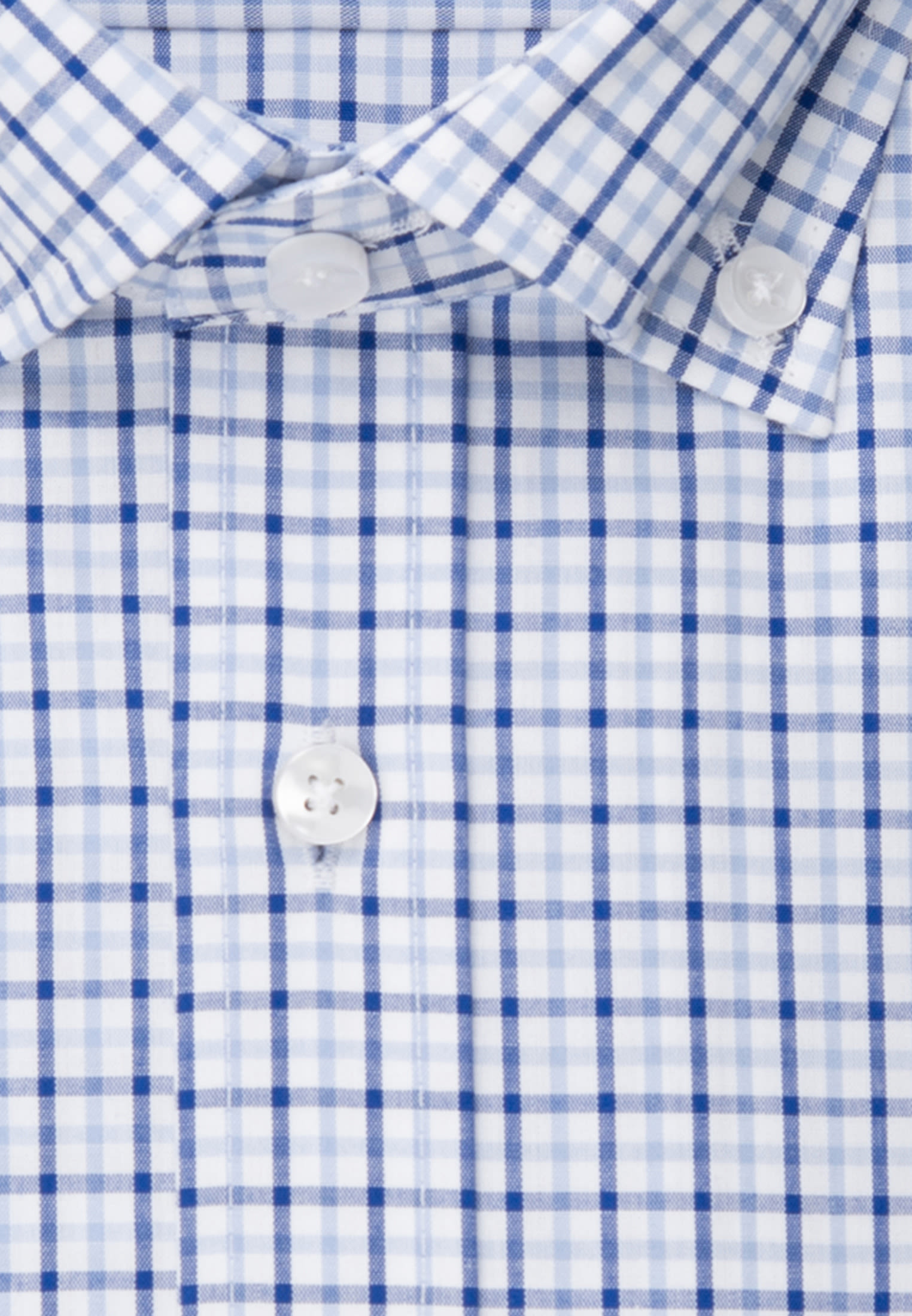 Bügelfreies Popeline Kurzarm Business Hemd in Regular mit Button-Down-Kragen in Mittelblau |  Seidensticker Onlineshop
