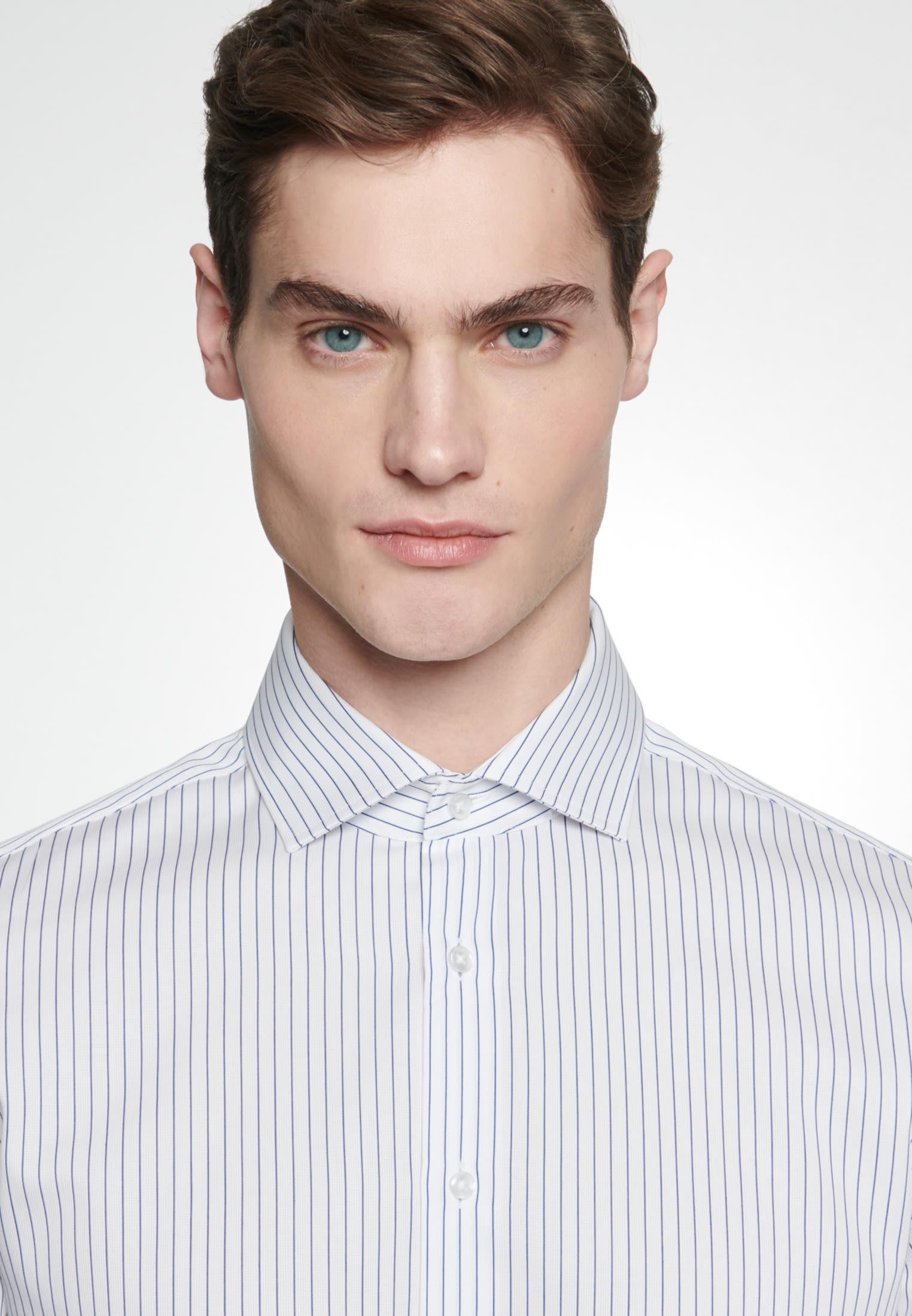 Bügelleichtes Cotele Business Hemd in Slim mit Kentkragen in Mittelblau    Seidensticker Onlineshop