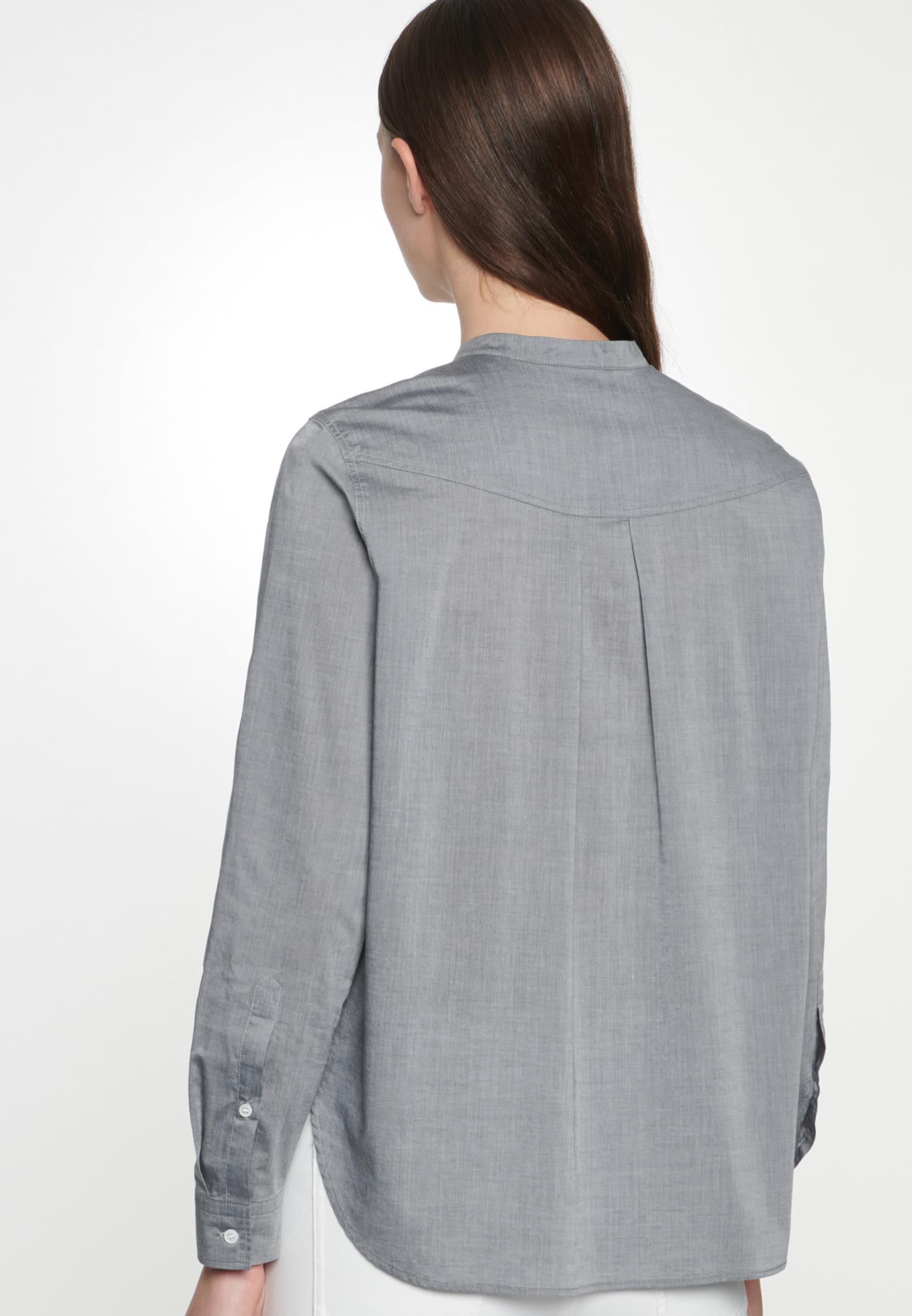 Chambray Stehkragenbluse aus 100% Baumwolle in Grau |  Seidensticker Onlineshop