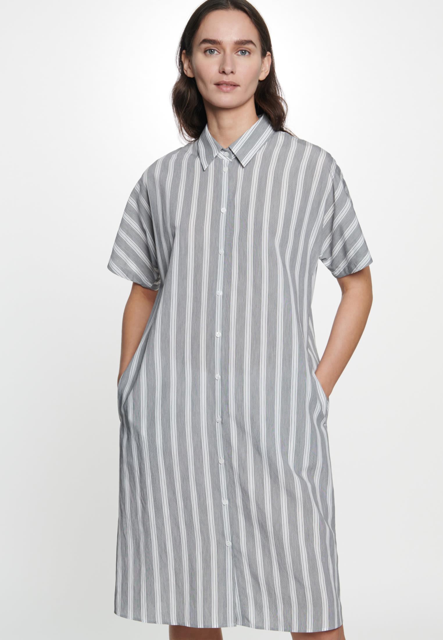 Popeline Midi Kleid aus Viskosemischung in Grau |  Seidensticker Onlineshop