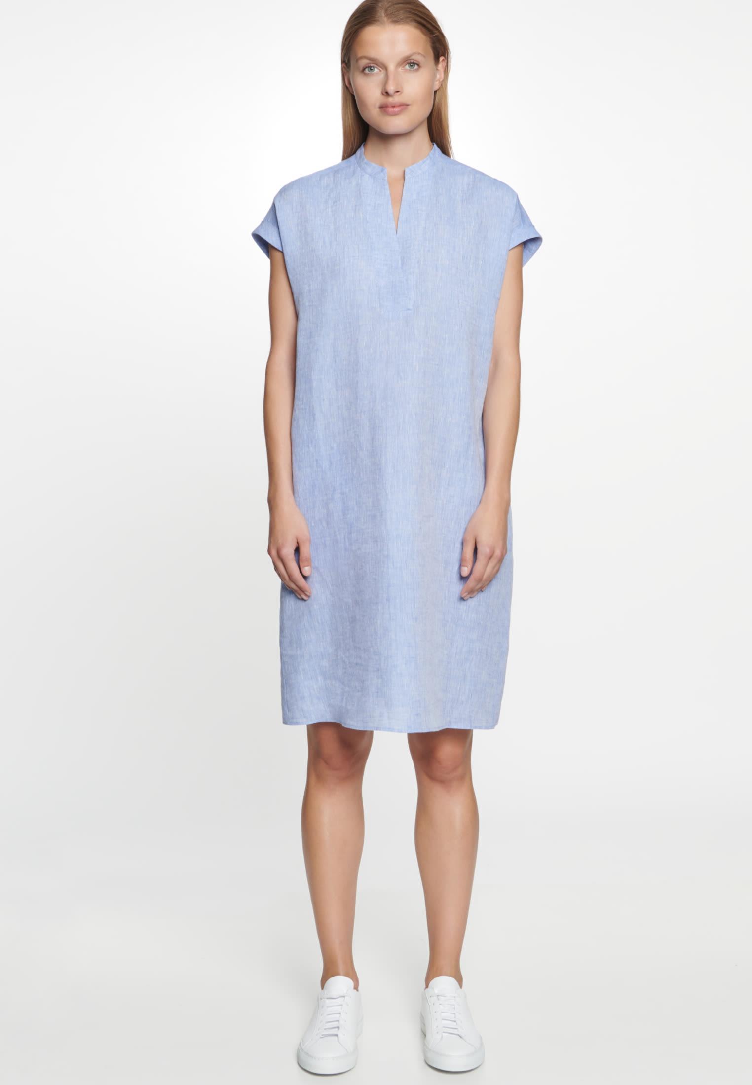 Ärmelloses Leinen Kleid aus 100% Leinen in Mittelblau |  Seidensticker Onlineshop