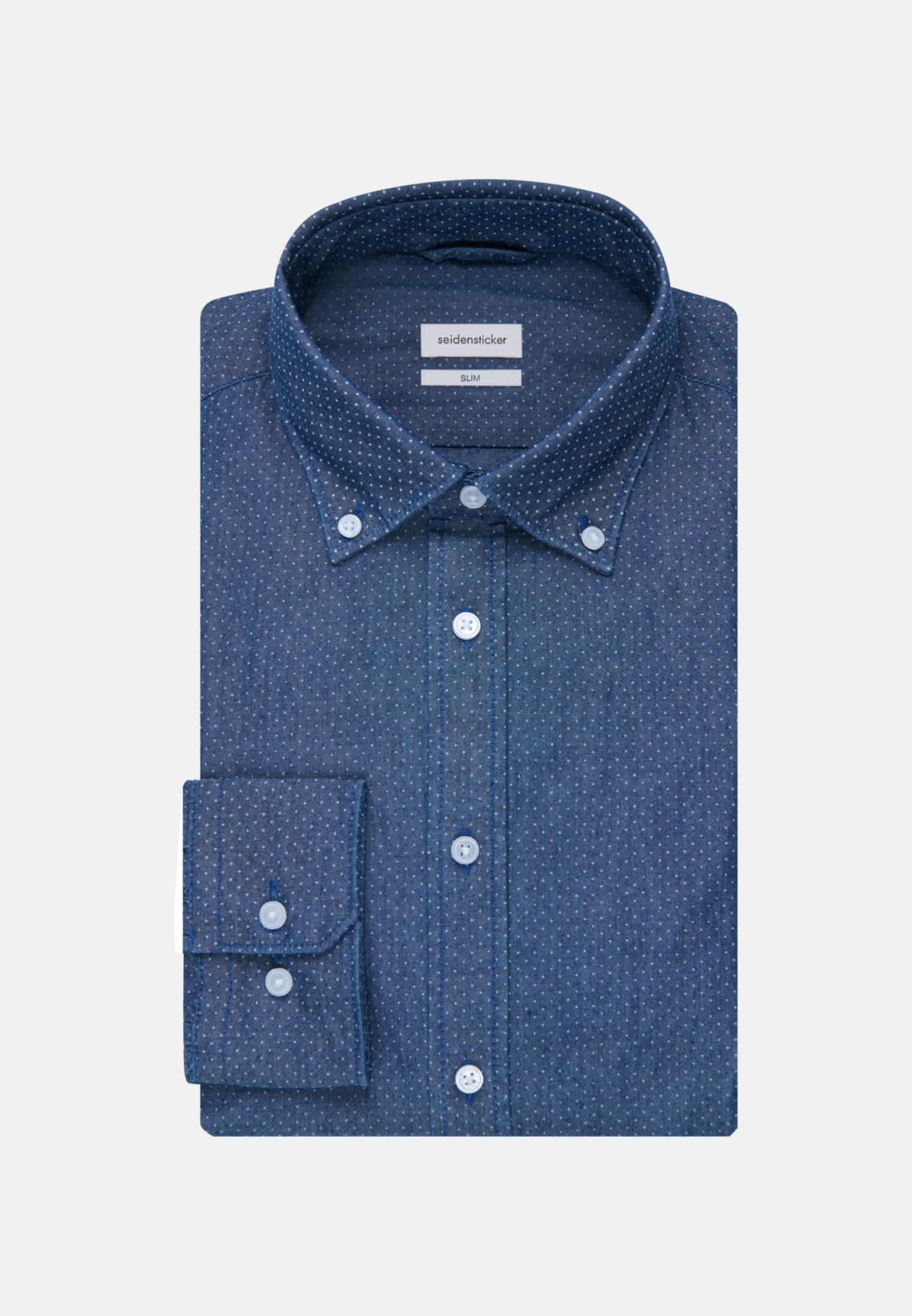 Bügelleichtes Chambray Business Hemd in Slim mit Button-Down-Kragen in Dunkelblau |  Seidensticker Onlineshop