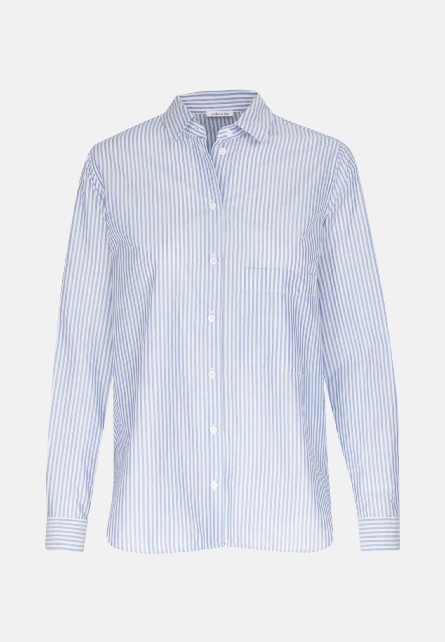 Voile Shirt Blouse made of 100% Cotton in Medium blue |  Seidensticker Onlineshop