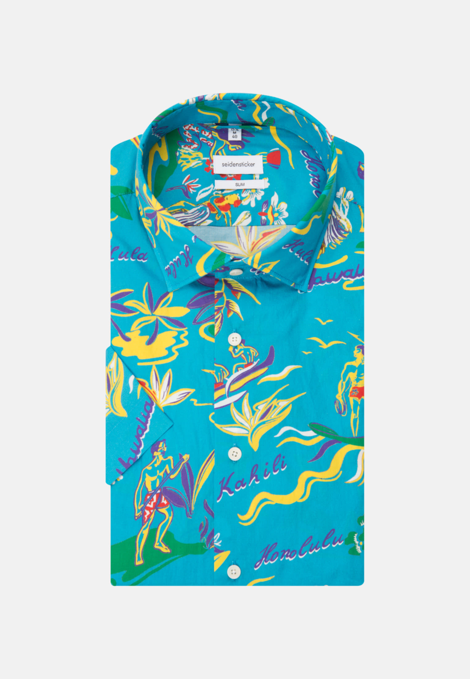 Bügelleichtes Popeline Kurzarm Business Hemd in Slim mit Kentkragen in Türkis/Petrol    Seidensticker Onlineshop