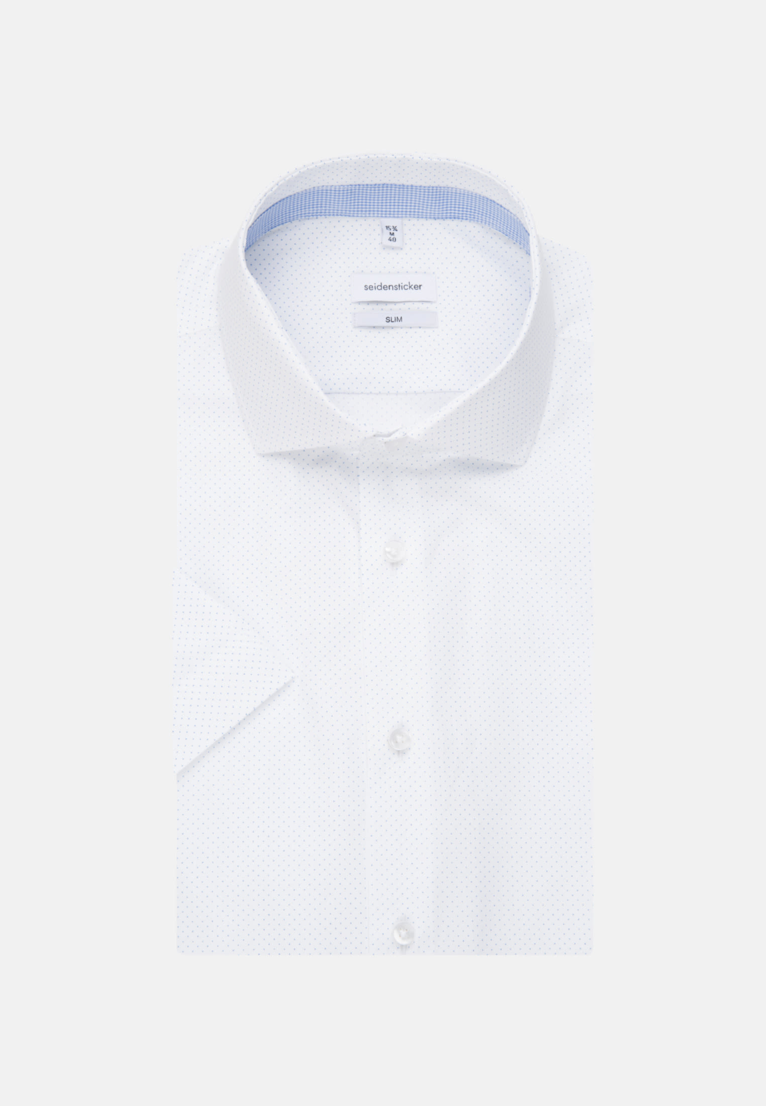 Bügelleichtes Popeline Kurzarm Business Hemd in Slim mit Kentkragen in Weiß |  Seidensticker Onlineshop