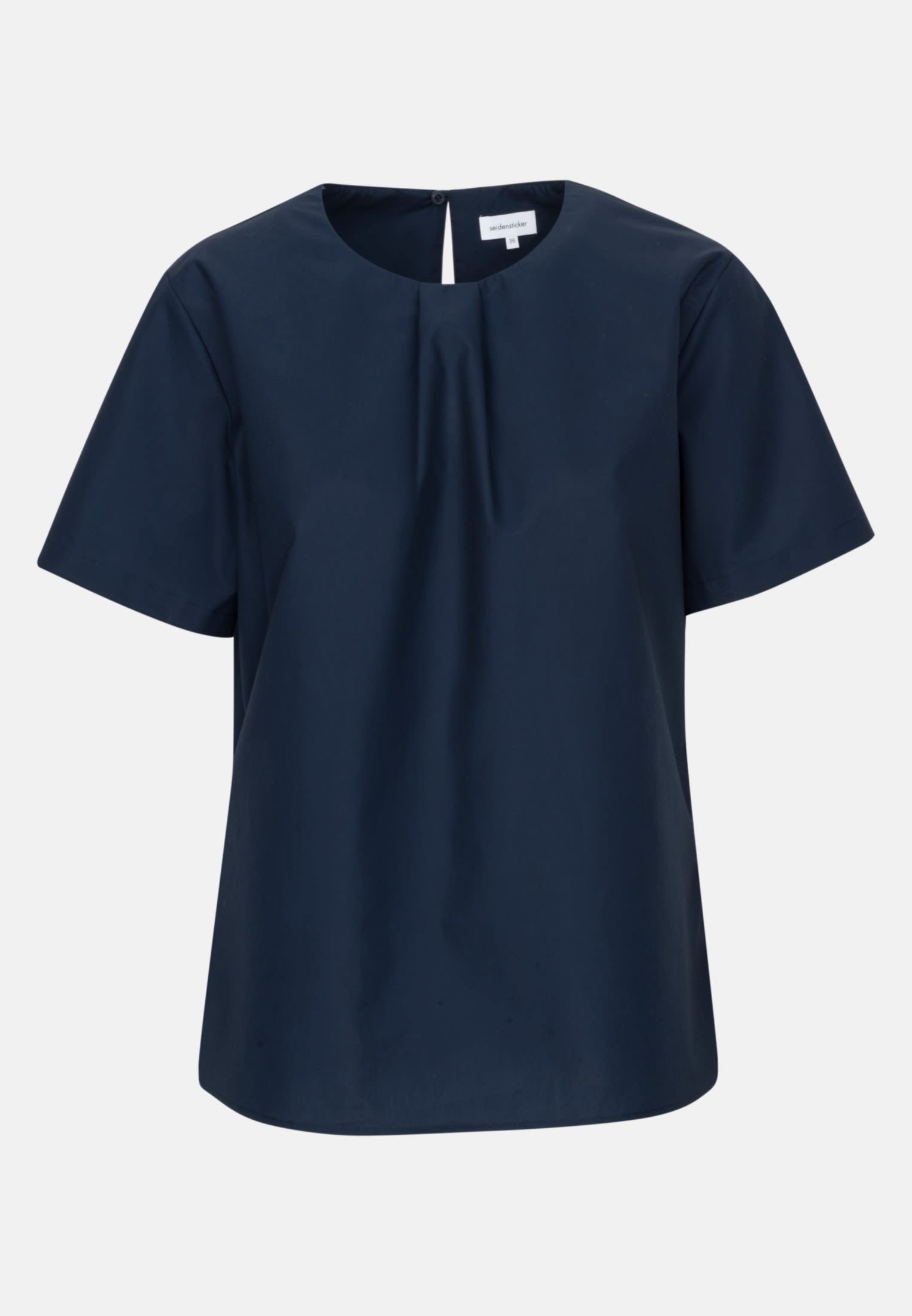 Short sleeve Poplin Shirt Blouse made of 100% Cotton in Dark blue |  Seidensticker Onlineshop