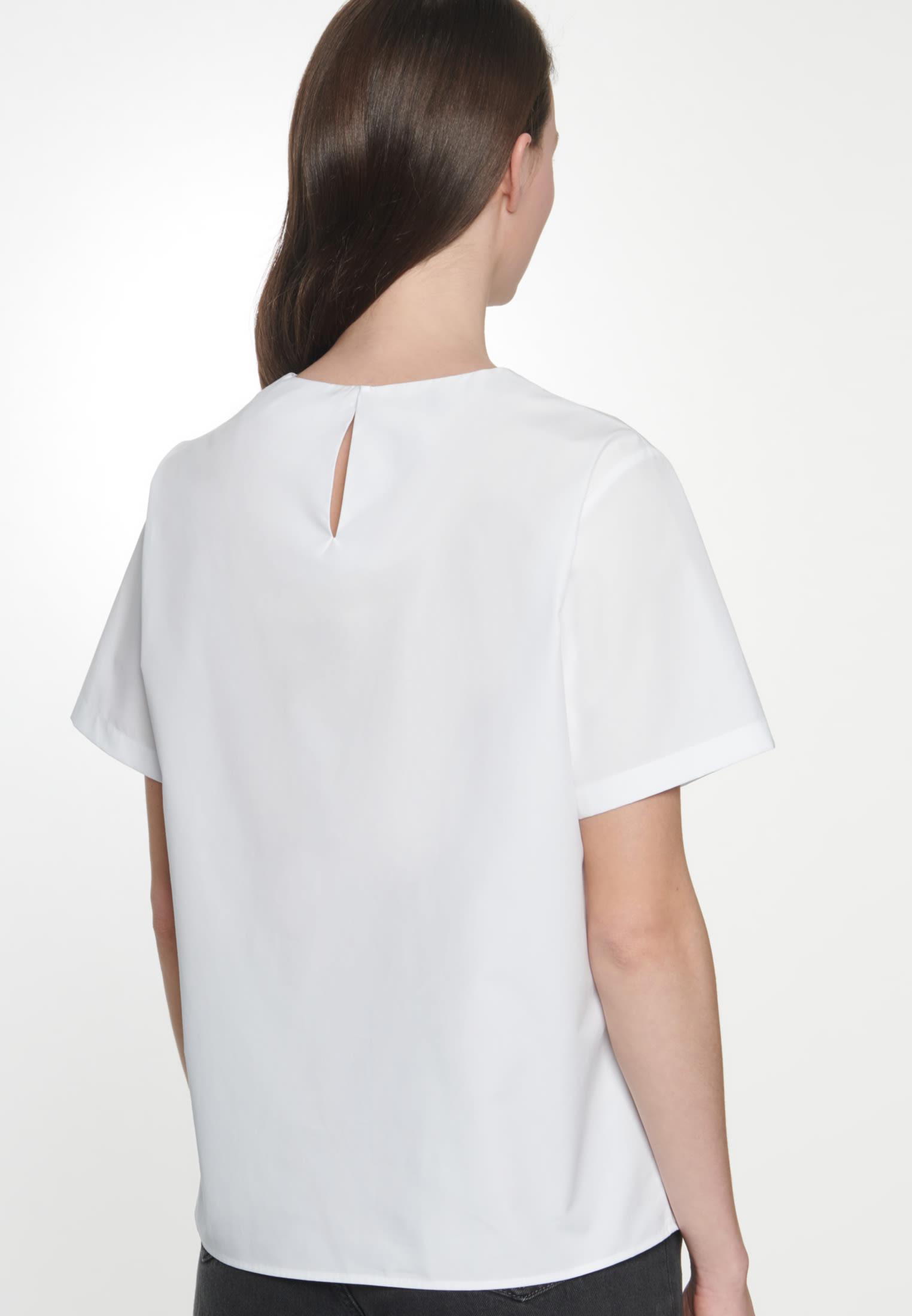 Kurzarm Popeline Shirtbluse aus 100% Baumwolle in Weiß    Seidensticker Onlineshop