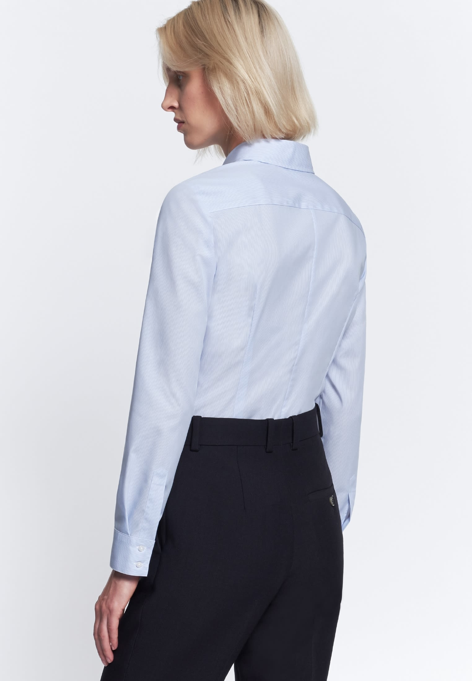 Non-iron Poplin Shirt Blouse made of 100% Cotton in hellblau Streifen |  Seidensticker Onlineshop