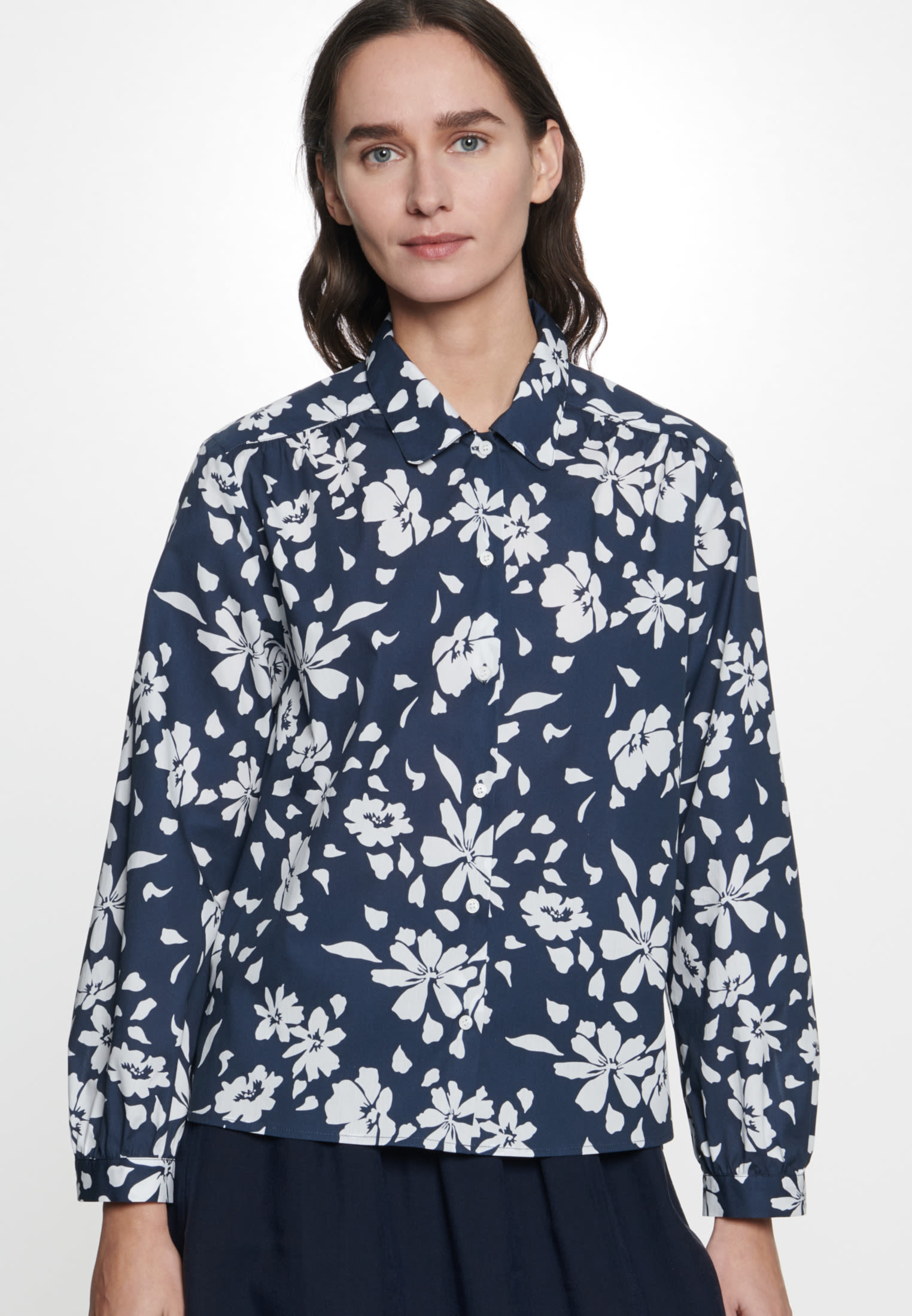 Poplin Shirt Blouse made of 100% Cotton in Dark blue |  Seidensticker Onlineshop