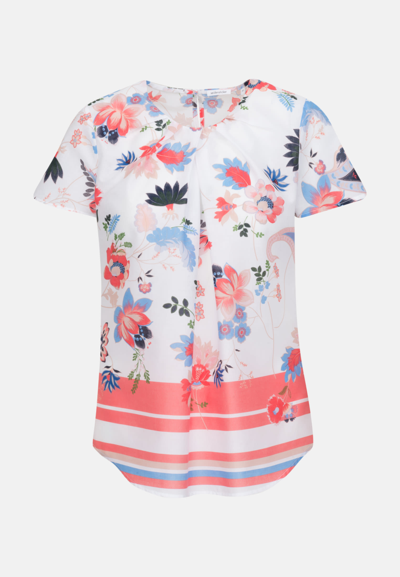 Short sleeve Poplin Shirt Blouse made of 100% Cotton in Ecru |  Seidensticker Onlineshop